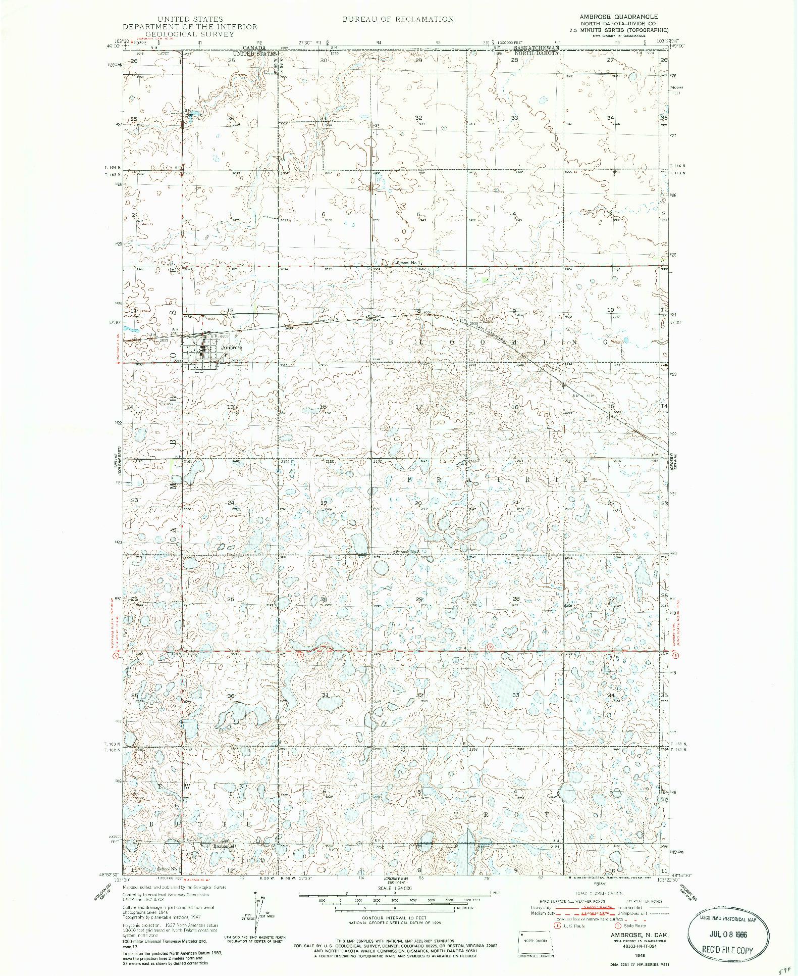 USGS 1:24000-SCALE QUADRANGLE FOR AMBROSE, ND 1948
