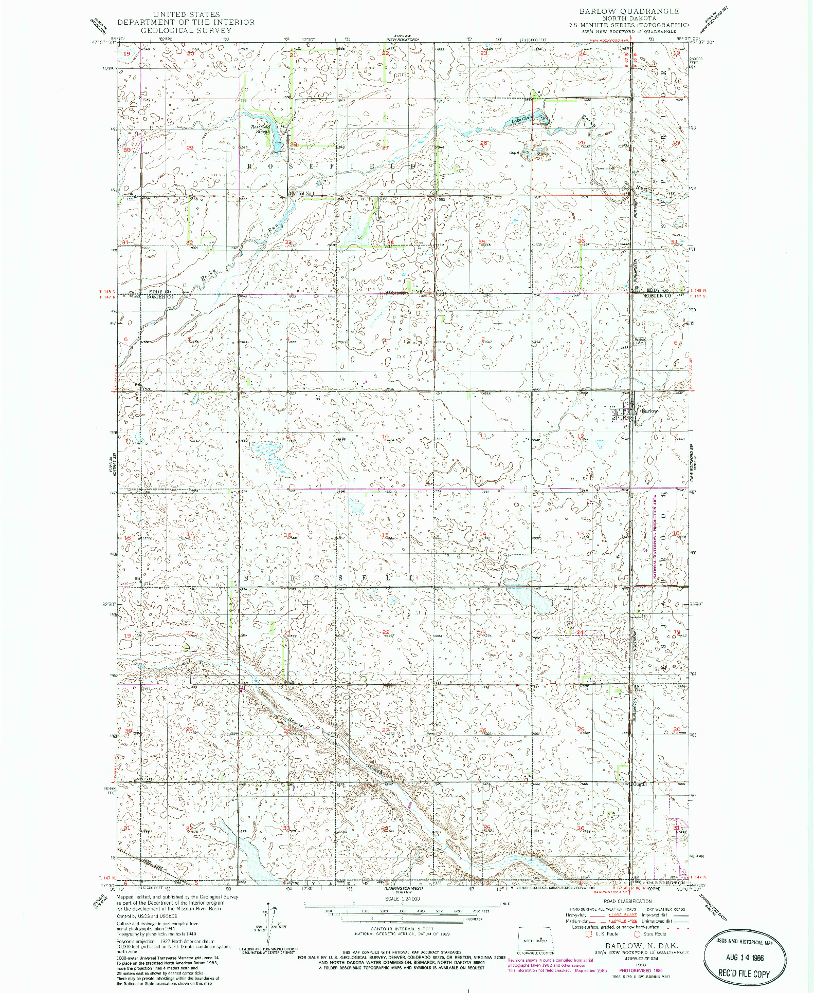 USGS 1:24000-SCALE QUADRANGLE FOR BARLOW, ND 1950