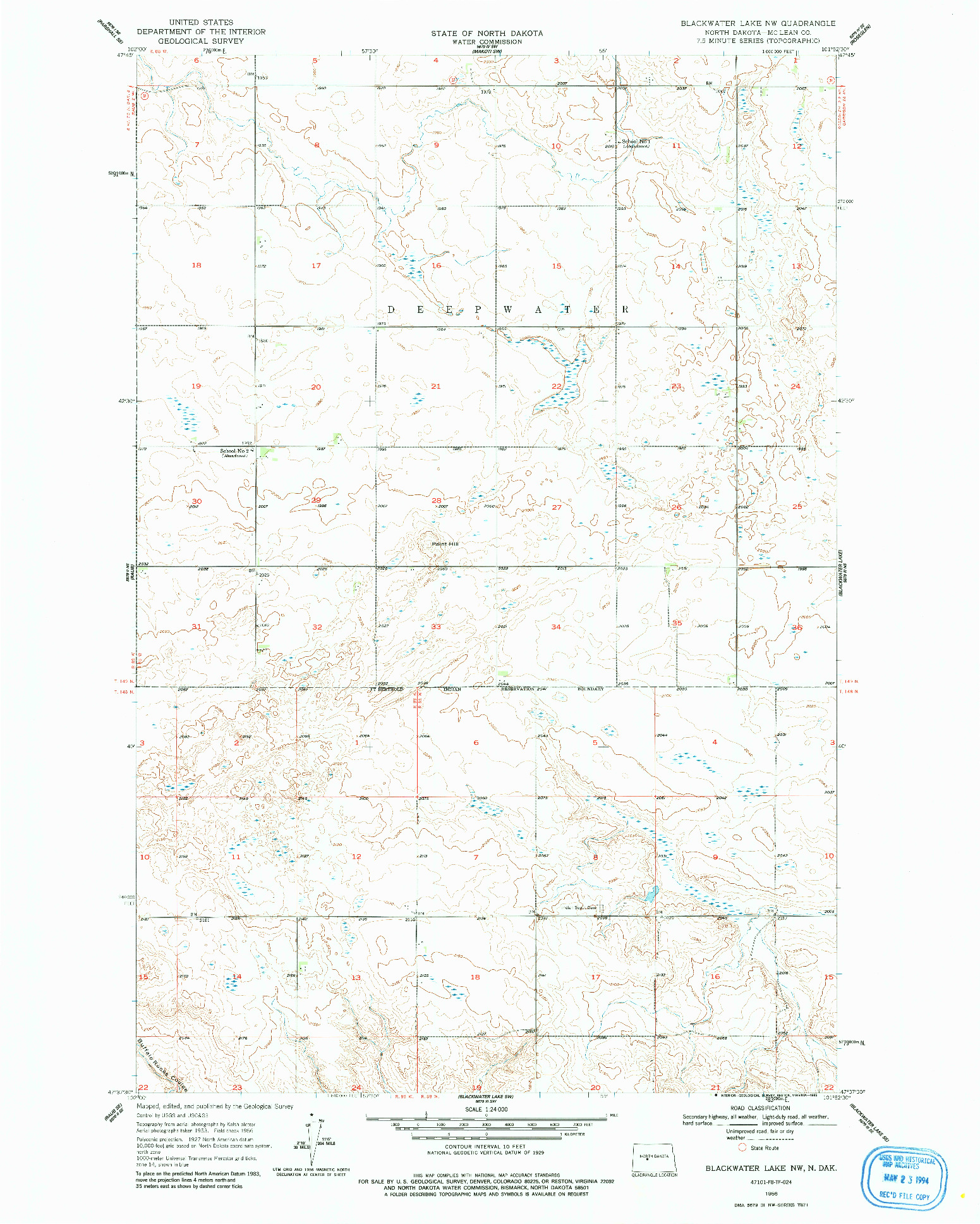 USGS 1:24000-SCALE QUADRANGLE FOR BLACKWATER LAKE NW, ND 1956