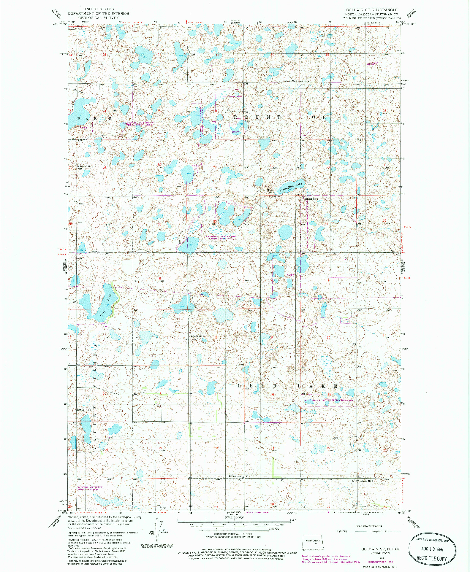 USGS 1:24000-SCALE QUADRANGLE FOR GOLDWIN SE, ND 1958