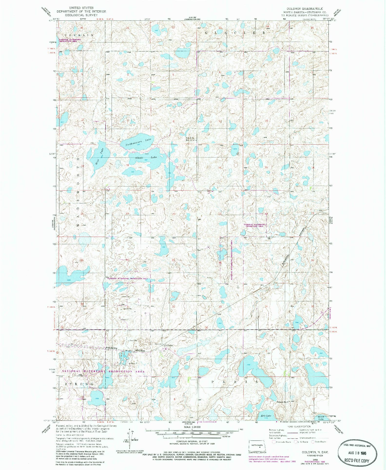 USGS 1:24000-SCALE QUADRANGLE FOR GOLDWIN, ND 1958