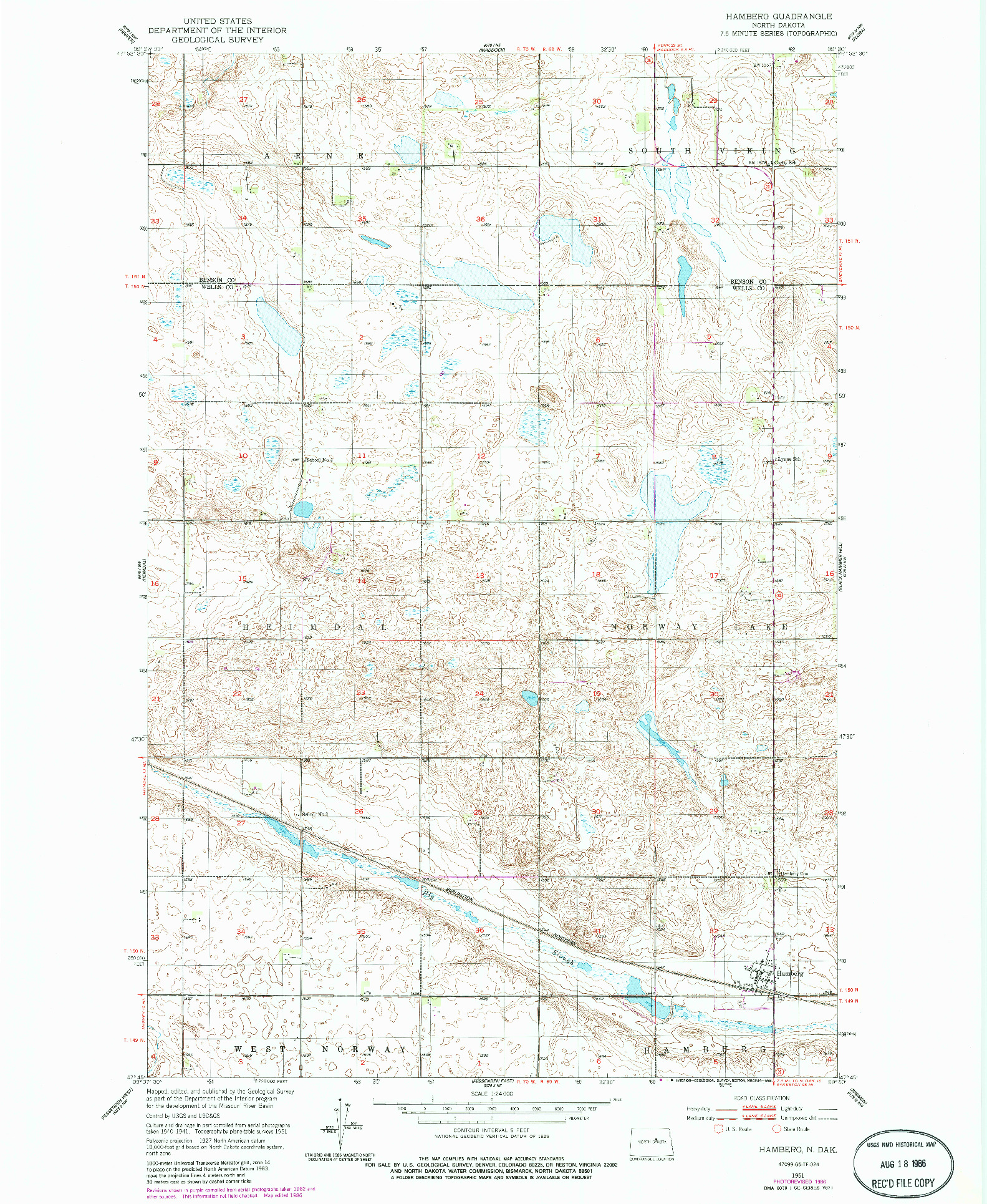 USGS 1:24000-SCALE QUADRANGLE FOR HAMBERG, ND 1951