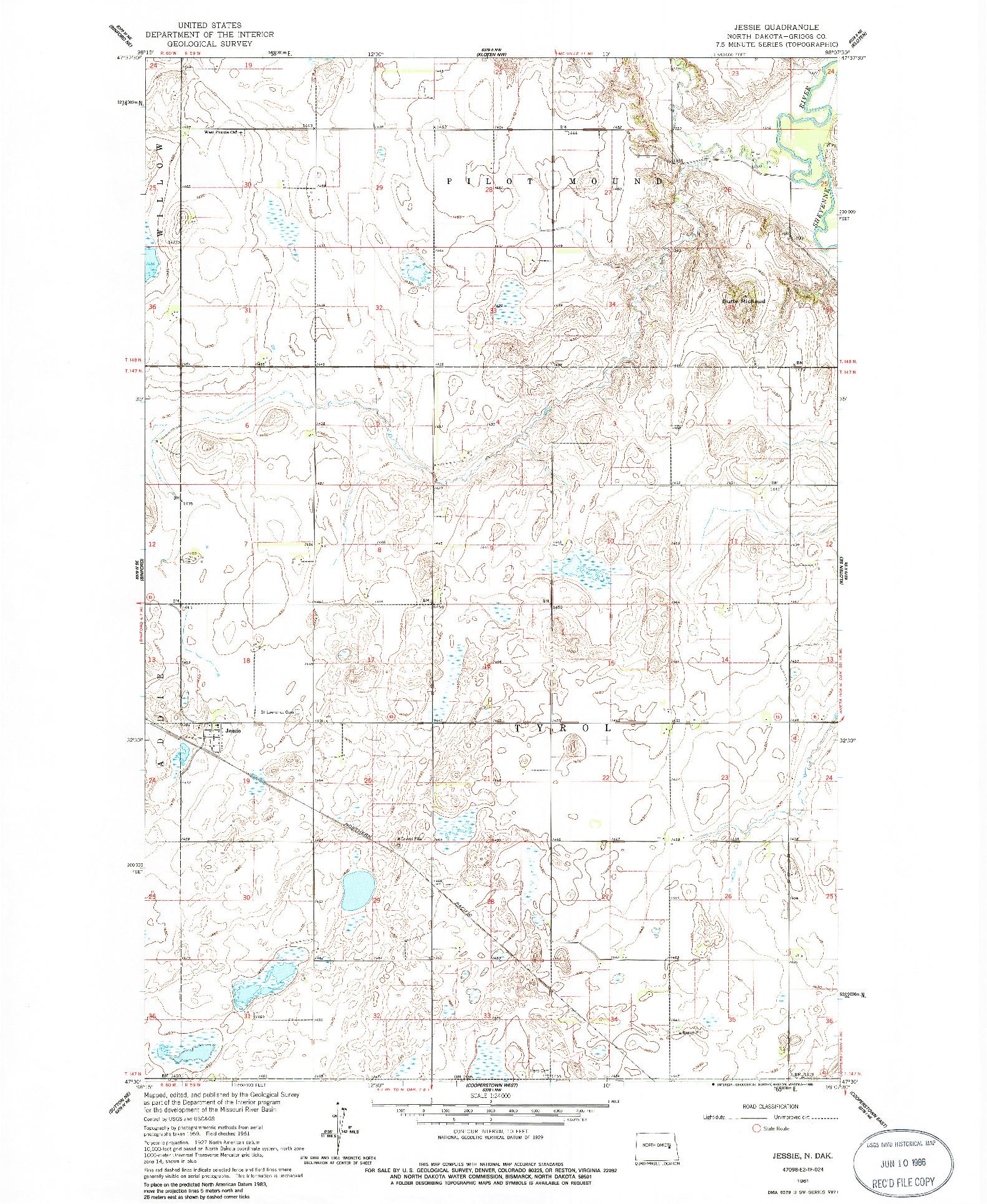 USGS 1:24000-SCALE QUADRANGLE FOR JESSIE, ND 1961