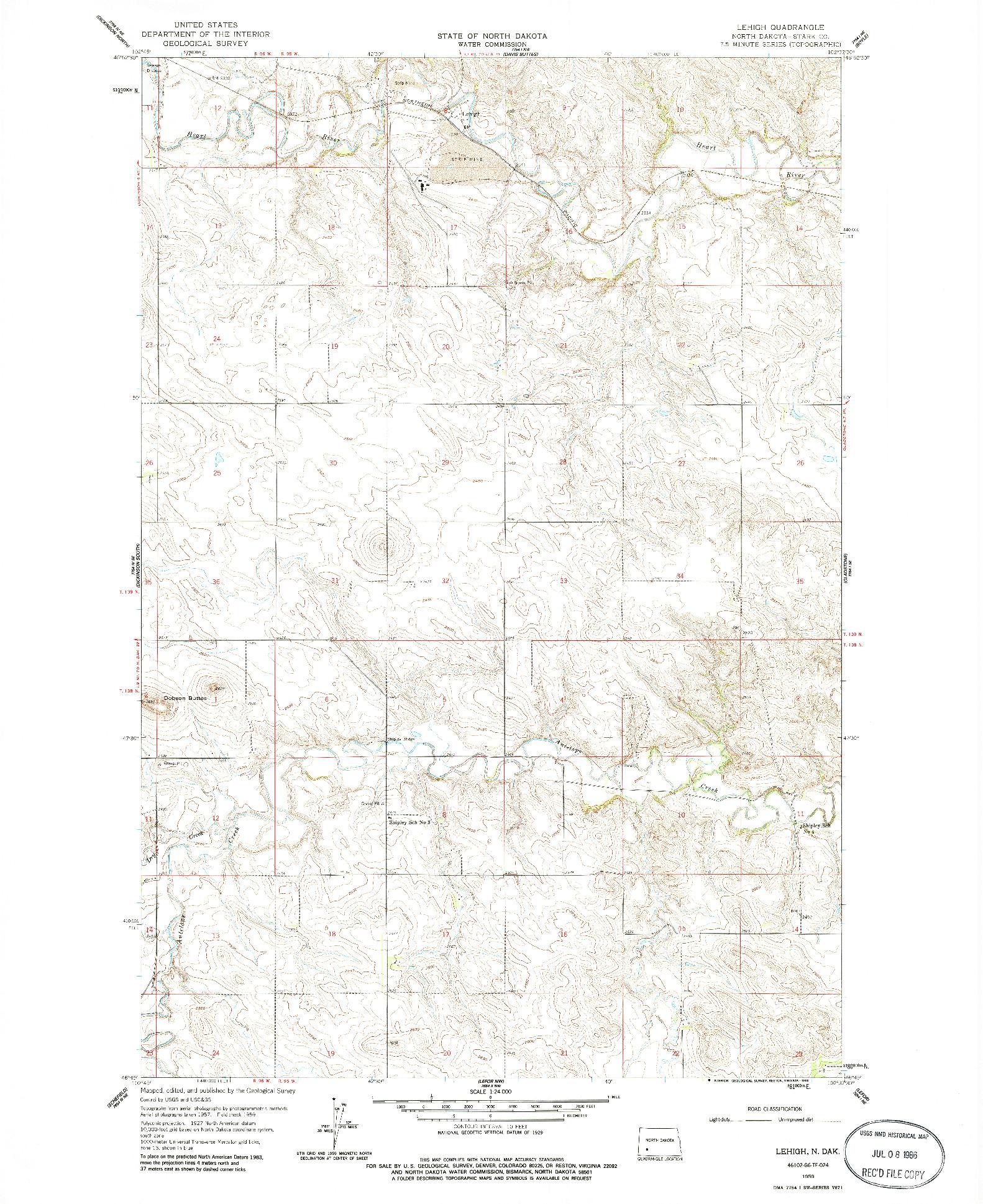 USGS 1:24000-SCALE QUADRANGLE FOR LEHIGH, ND 1959