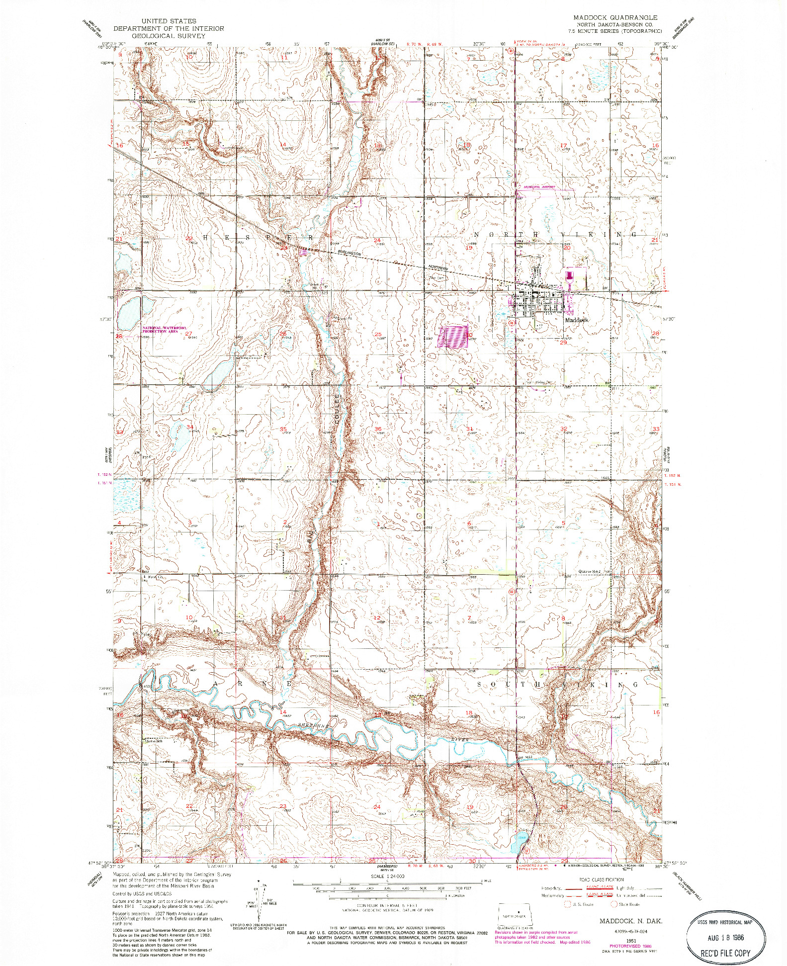 USGS 1:24000-SCALE QUADRANGLE FOR MADDOCK, ND 1951