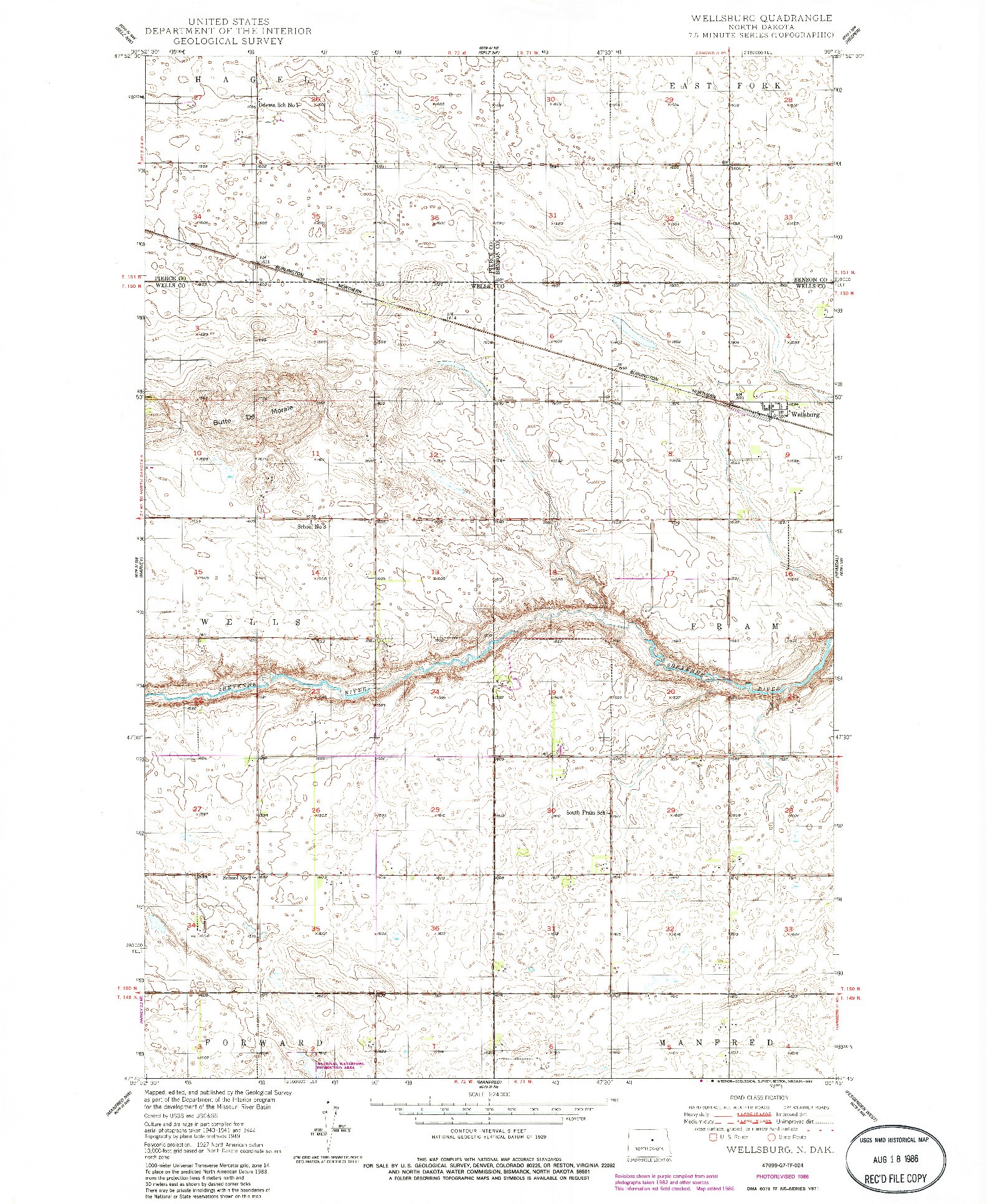 USGS 1:24000-SCALE QUADRANGLE FOR WELLSBURG, ND 1986