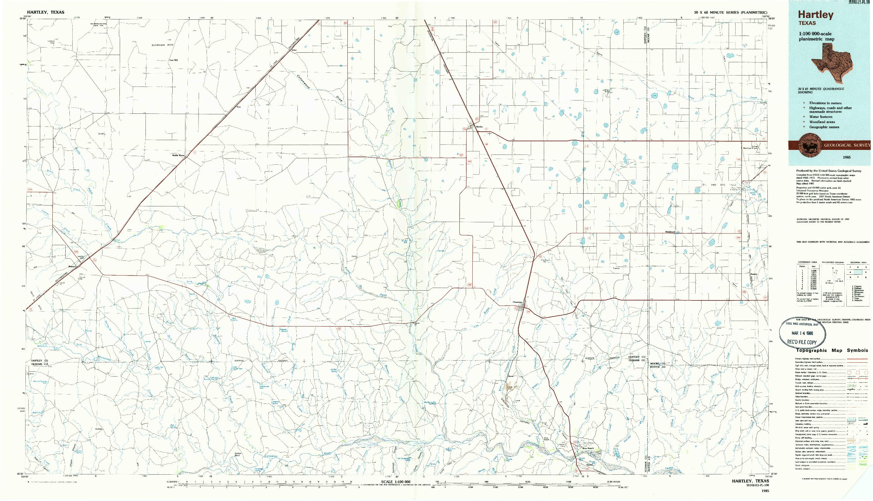 USGS 1:100000-SCALE QUADRANGLE FOR HARTLEY, TX 1985