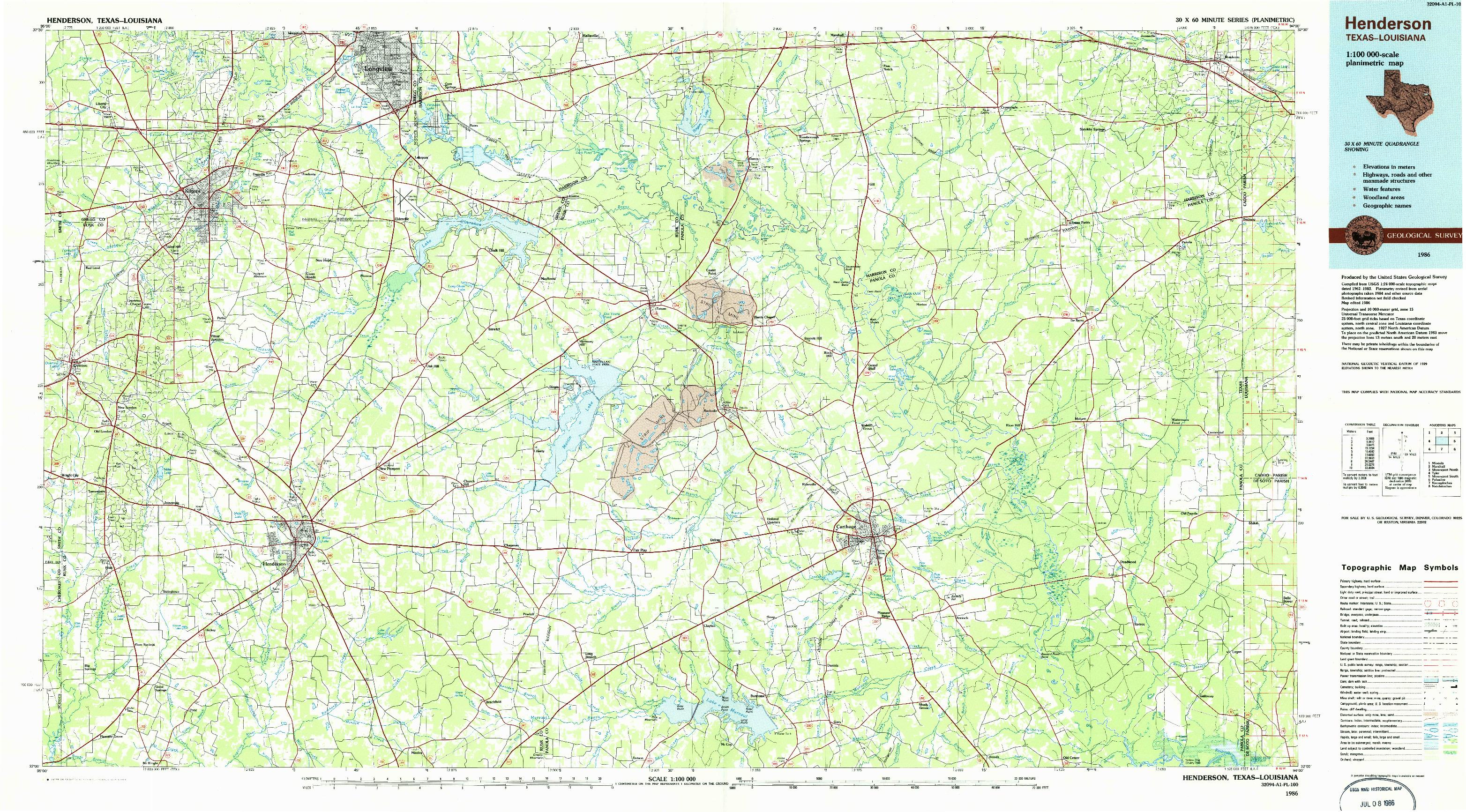 USGS 1:100000-SCALE QUADRANGLE FOR HENDERSON, TX 1986