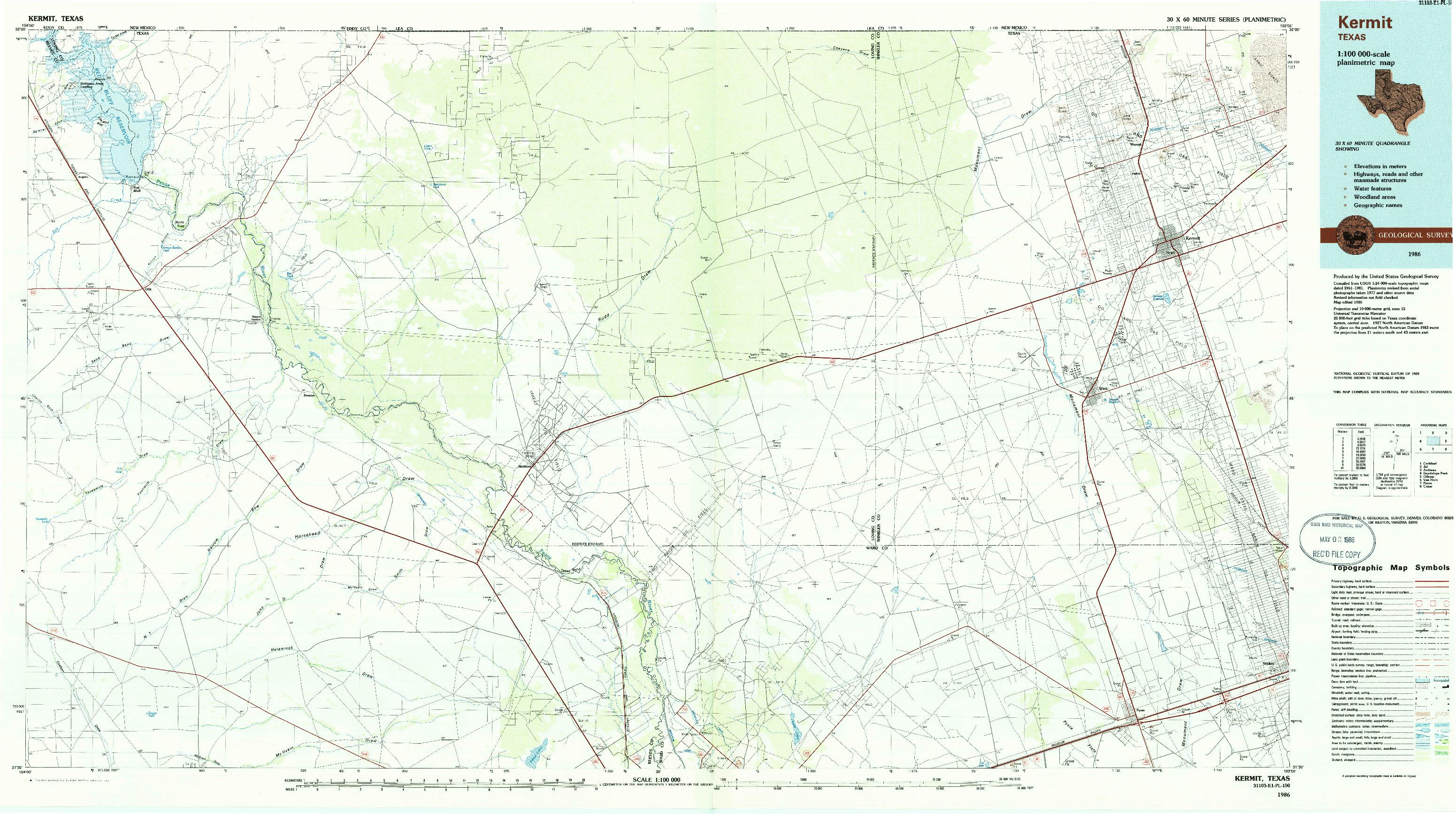 USGS 1:100000-SCALE QUADRANGLE FOR KERMIT, TX 1986