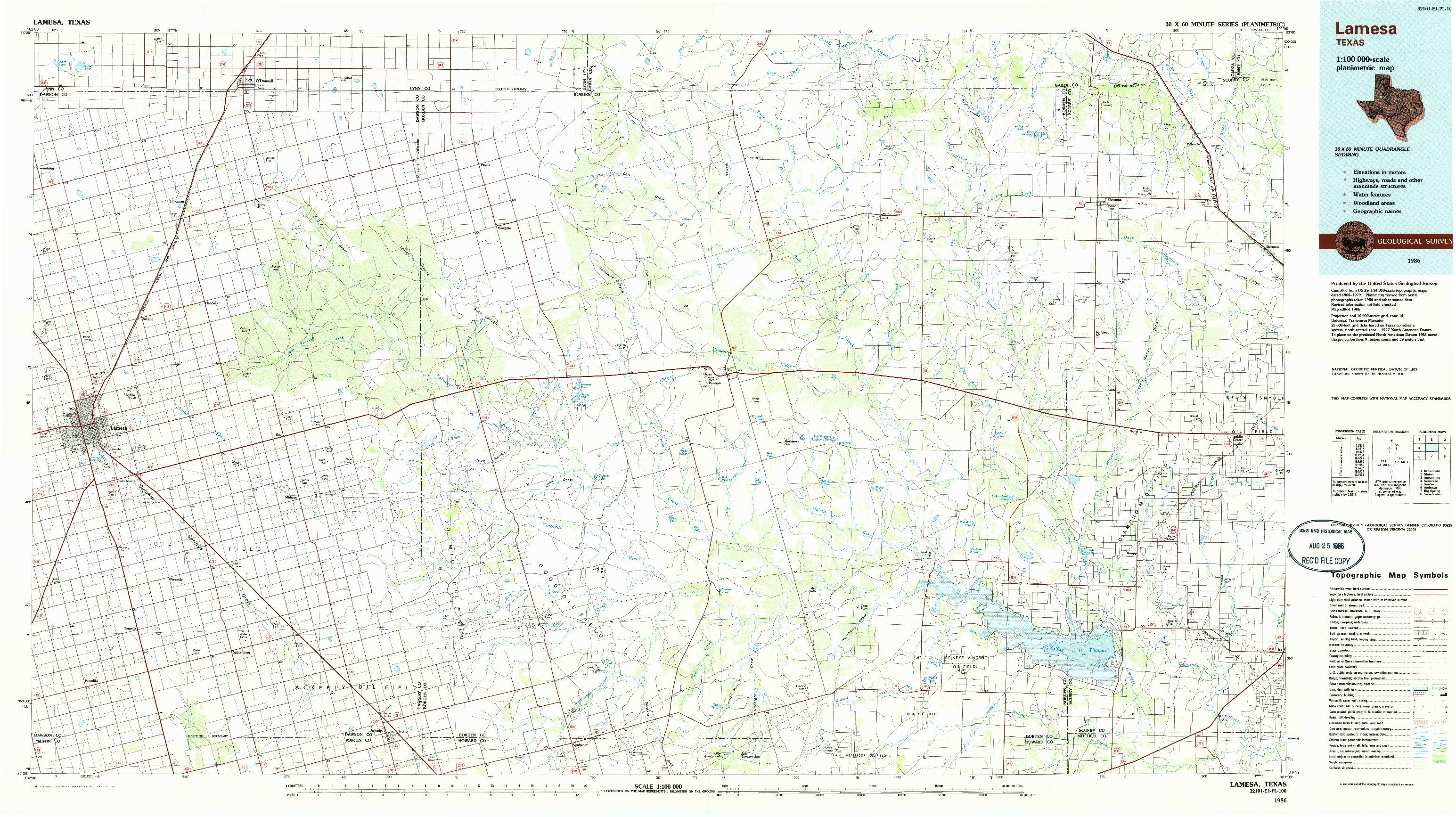 USGS 1:100000-SCALE QUADRANGLE FOR LAMESA, TX 1986