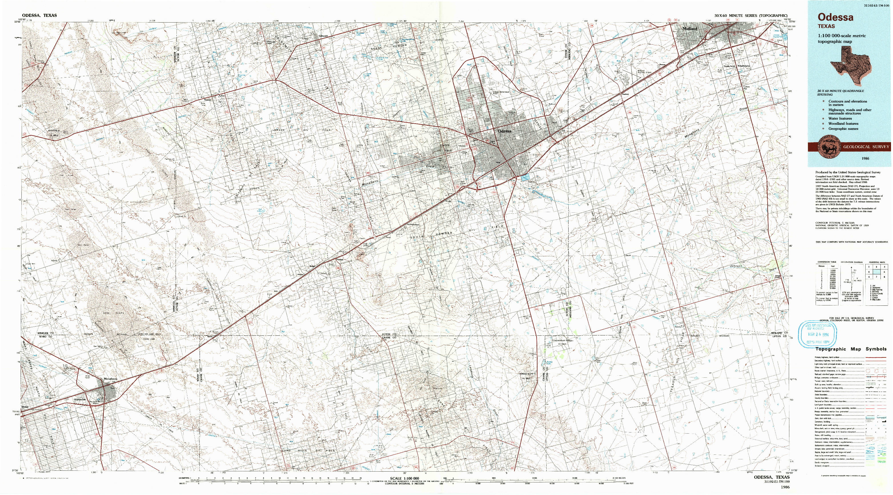 USGS 1:100000-SCALE QUADRANGLE FOR ODESSA, TX 1986