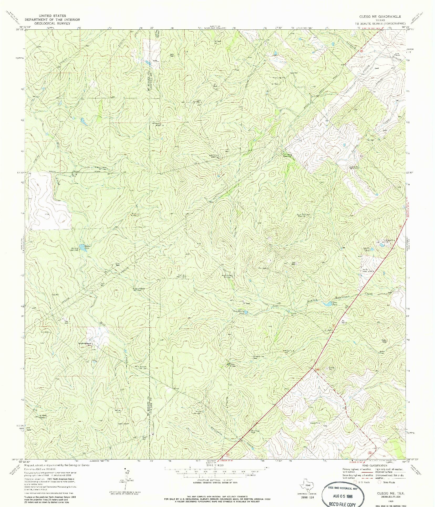 USGS 1:24000-SCALE QUADRANGLE FOR CLEGG NE, TX 1969
