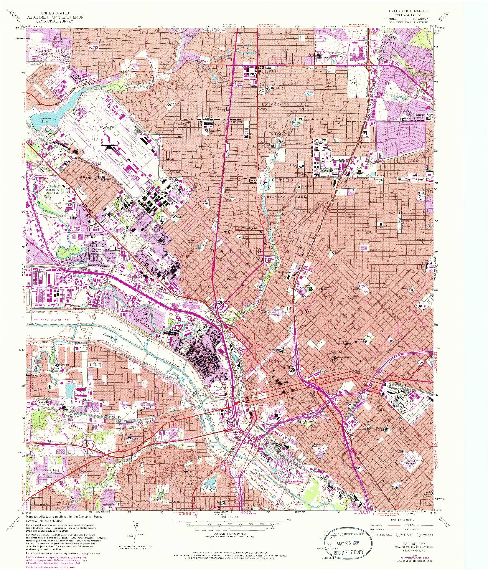 USGS 1:24000-SCALE QUADRANGLE FOR DALLAS, TX 1958