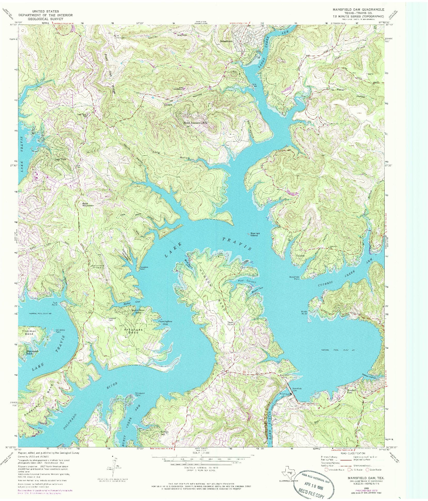 USGS 1:24000-SCALE QUADRANGLE FOR MANSFIELD DAM, TX 1968
