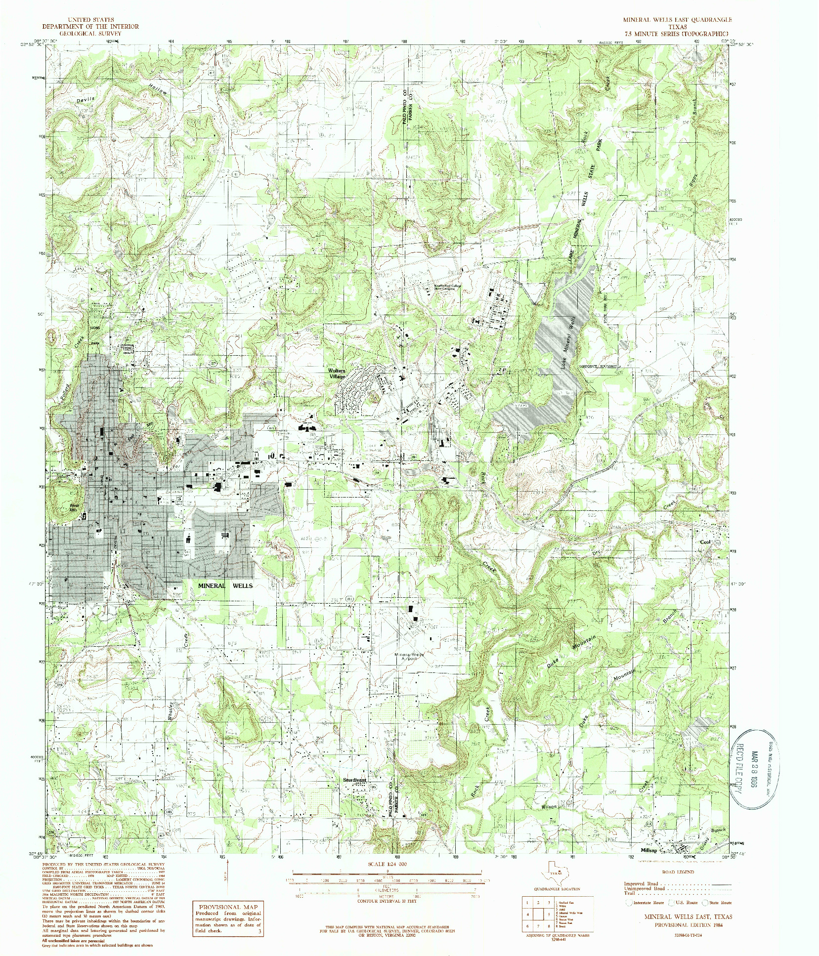 USGS 1:24000-SCALE QUADRANGLE FOR MINERAL WELLS EAST, TX 1984