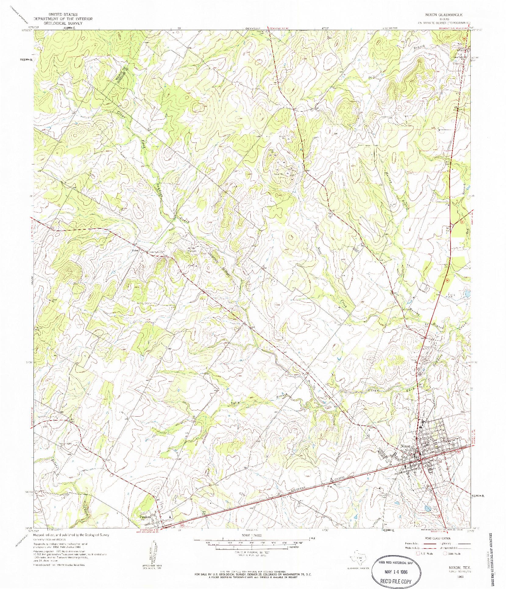 USGS 1:24000-SCALE QUADRANGLE FOR NIXON, TX 1961