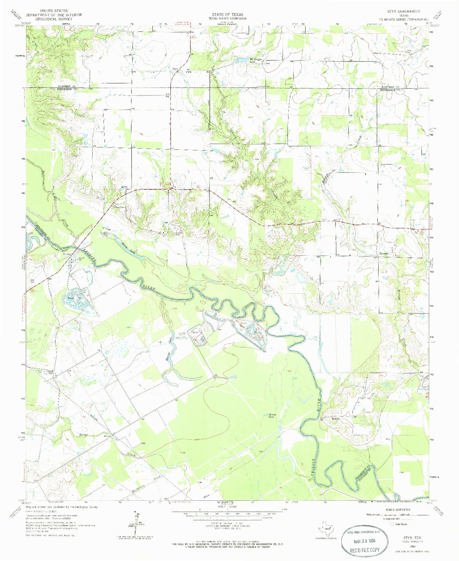 USGS 1:24000-SCALE QUADRANGLE FOR STYX, TX 1962