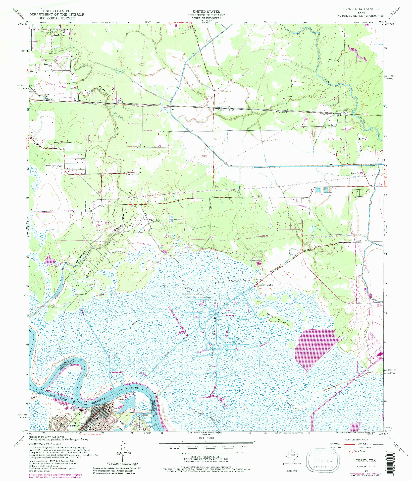 USGS 1:24000-SCALE QUADRANGLE FOR TERRY, TX 1957