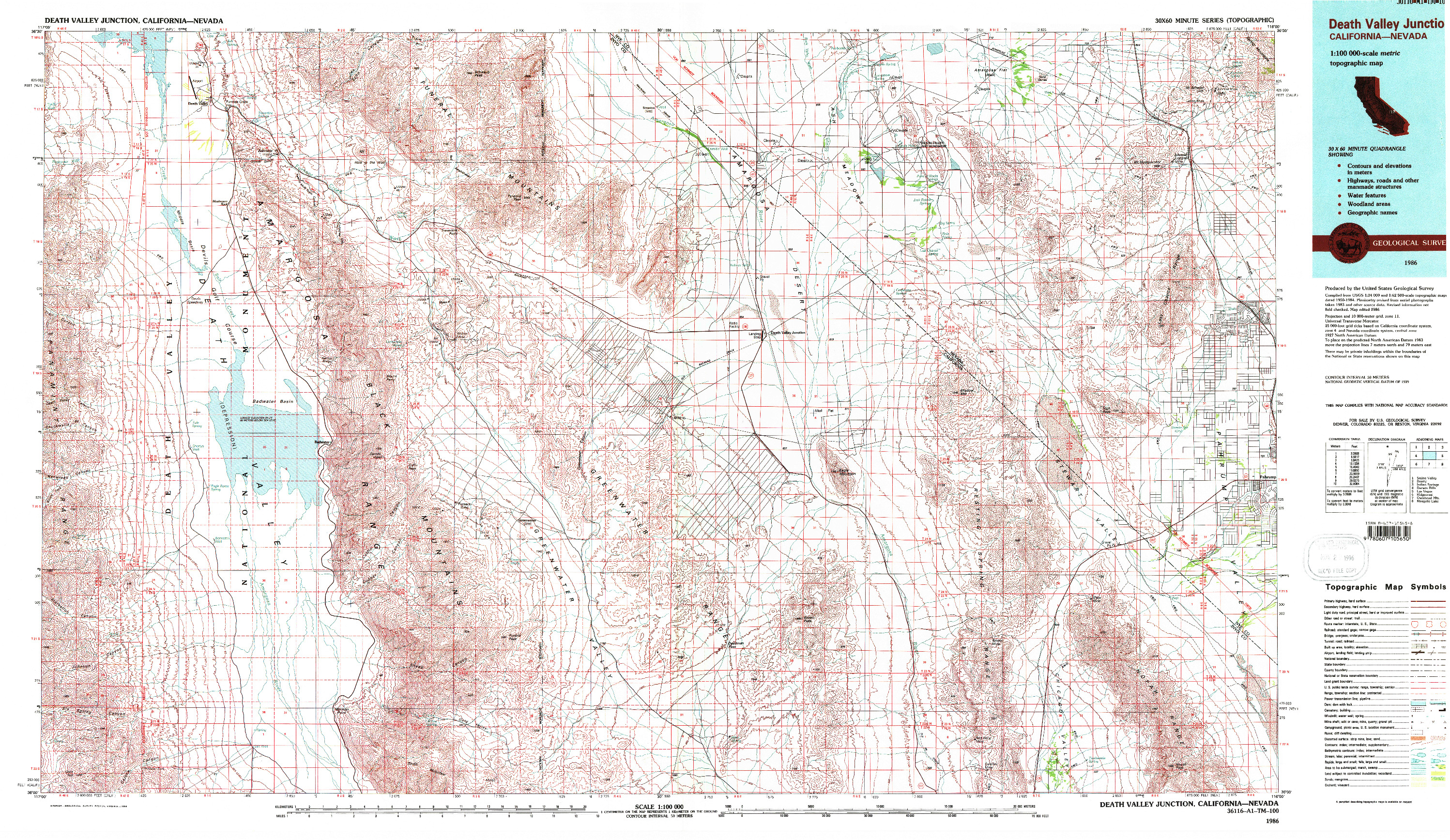 USGS 1:100000-SCALE QUADRANGLE FOR DEATH VALLEY JUNCTION, CA 1986