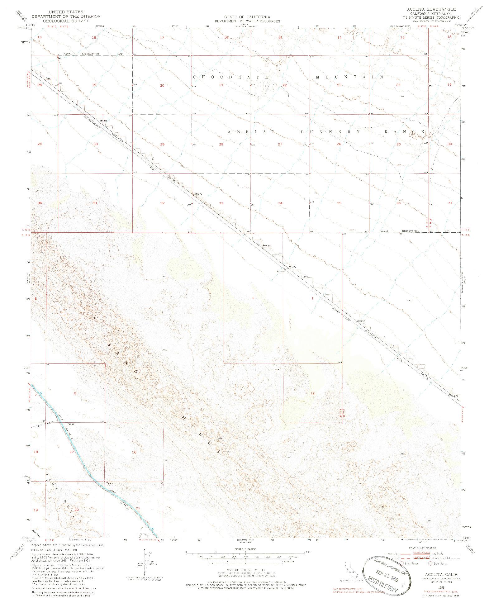 USGS 1:24000-SCALE QUADRANGLE FOR ACOLITA, CA 1953