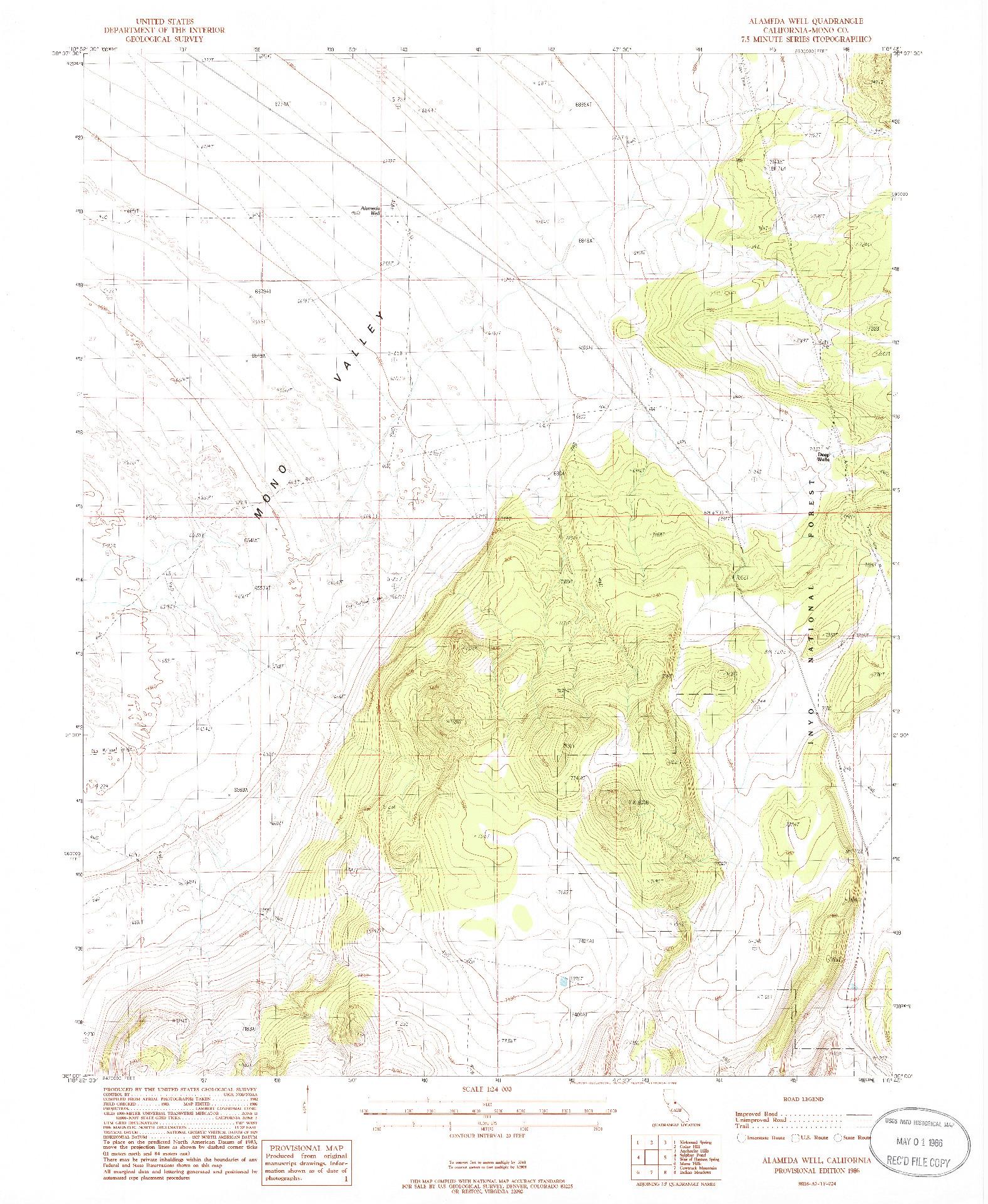 USGS 1:24000-SCALE QUADRANGLE FOR ALAMEDA WELL, CA 1986