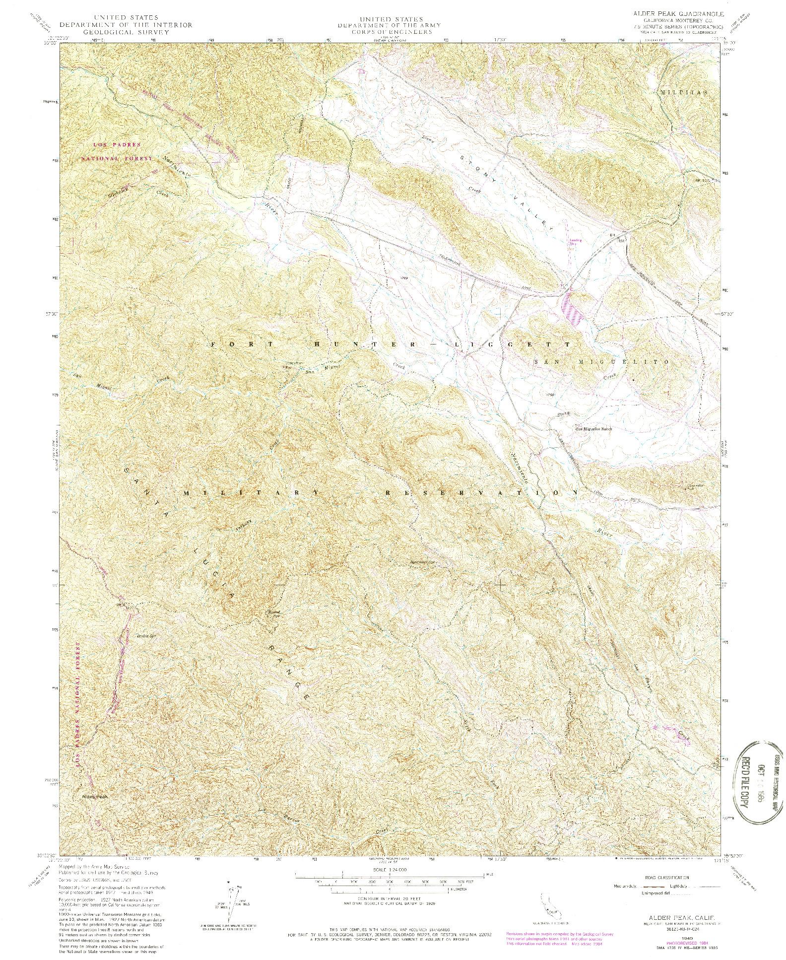 USGS 1:24000-SCALE QUADRANGLE FOR ALDER PEAK, CA 1949