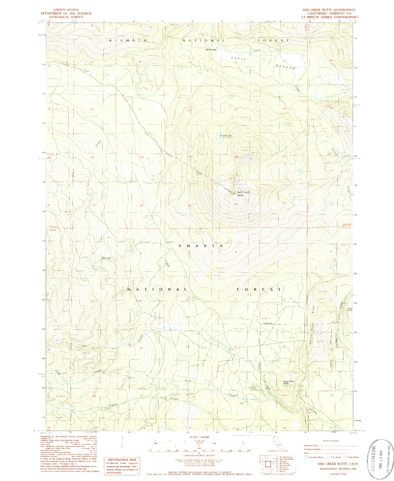 USGS 1:24000-SCALE QUADRANGLE FOR ASH CREEK BUTTE, CA 1986