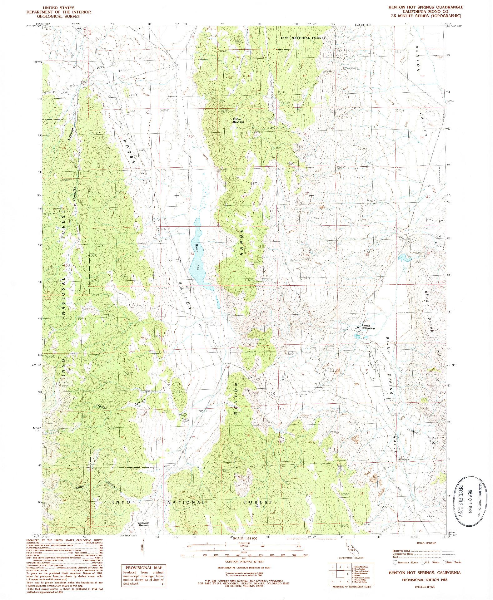 USGS 1:24000-SCALE QUADRANGLE FOR BENTON HOT SPRINGS, CA 1986