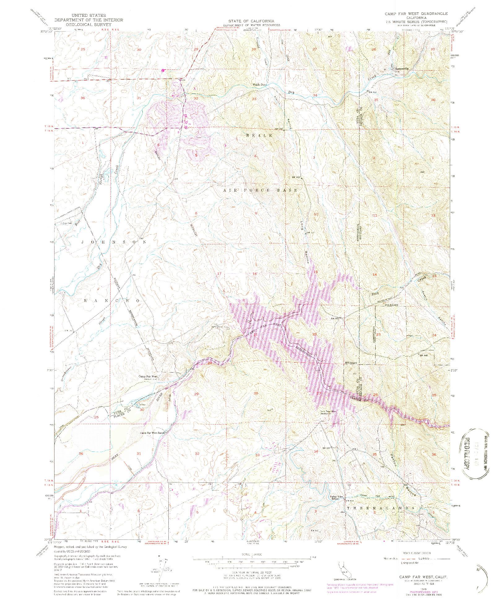 USGS 1:24000-SCALE QUADRANGLE FOR CAMP FAR WEST, CA 1949