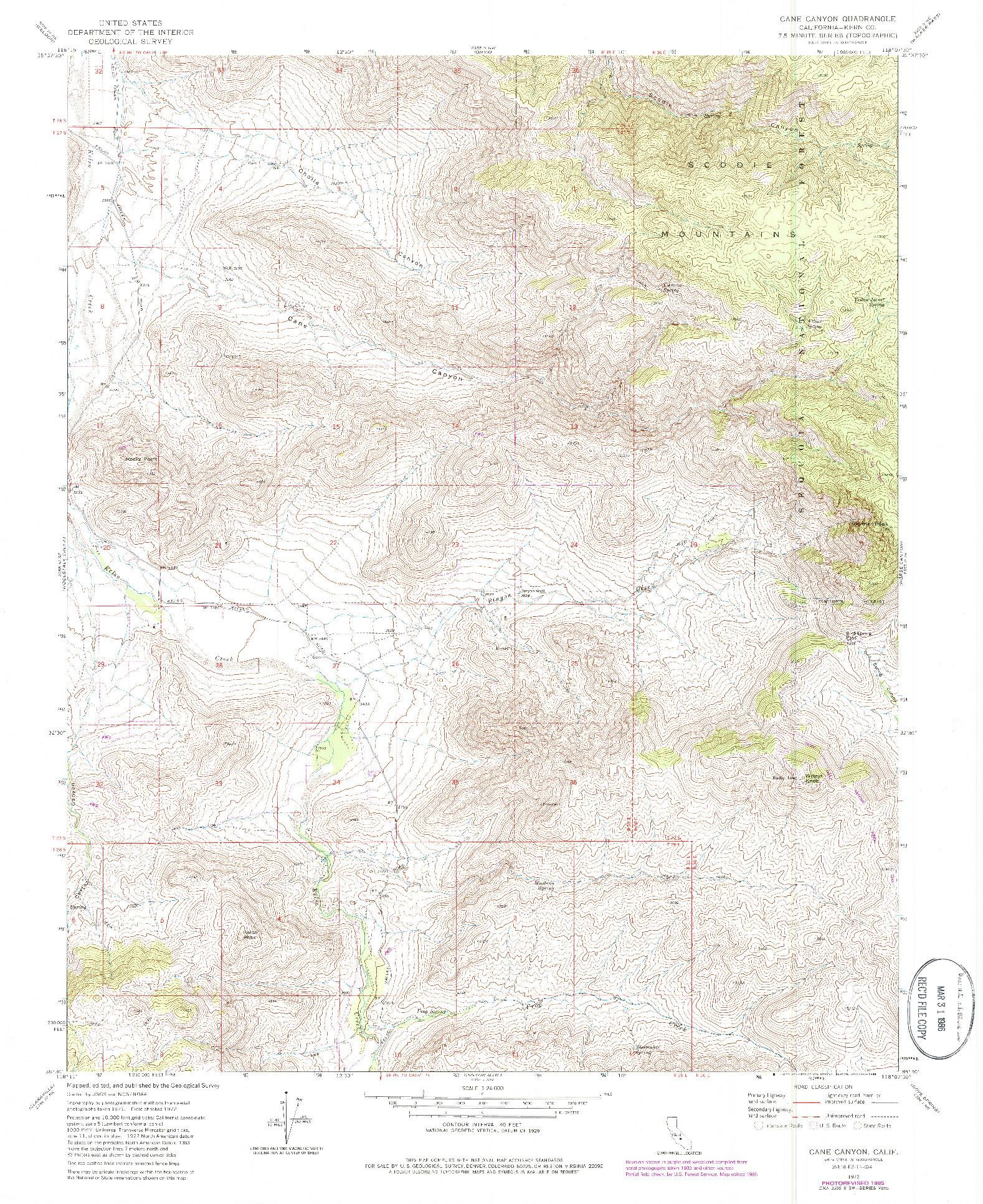USGS 1:24000-SCALE QUADRANGLE FOR CANE CANYON, CA 1972