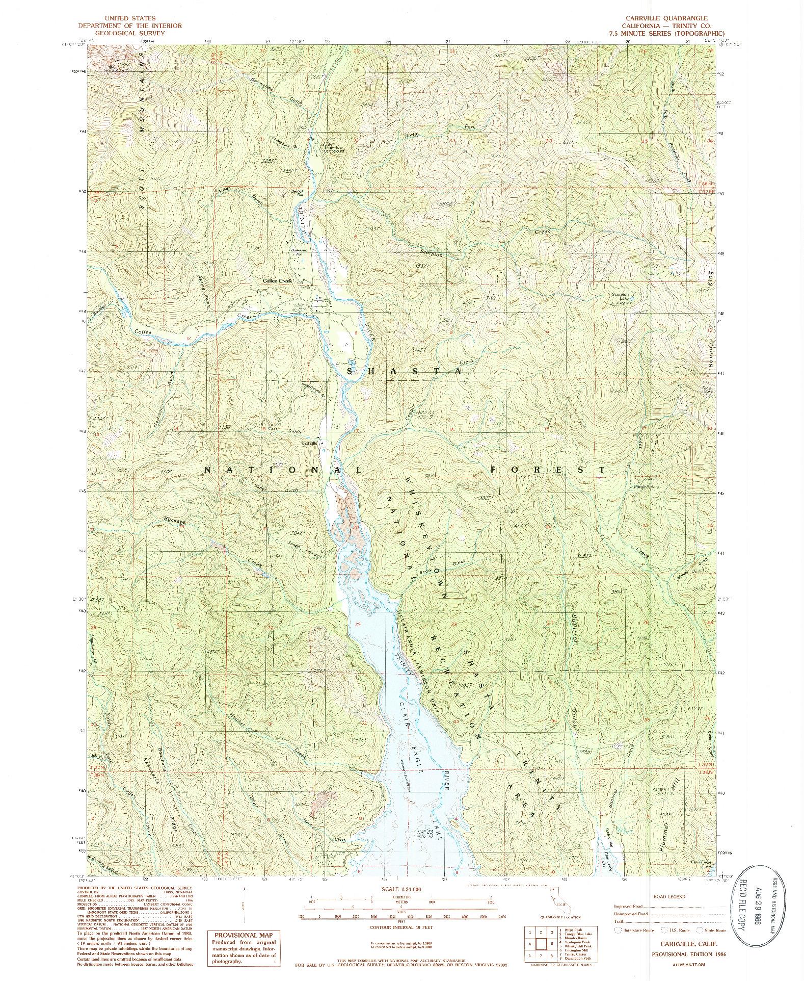 USGS 1:24000-SCALE QUADRANGLE FOR CARRVILLE, CA 1986