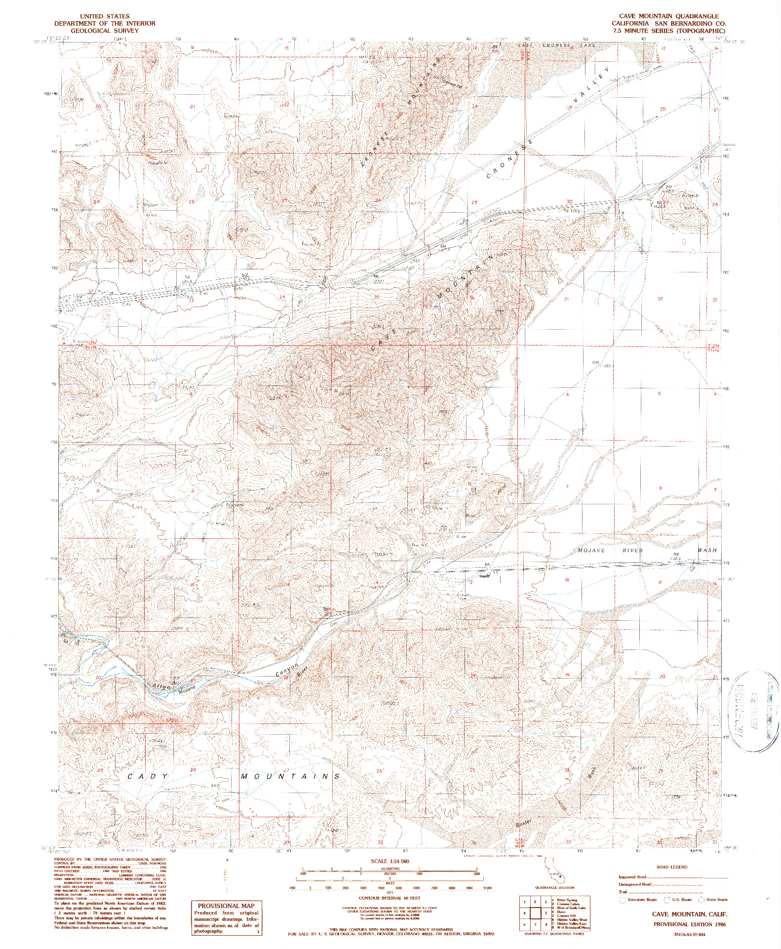 USGS 1:24000-SCALE QUADRANGLE FOR CAVE MOUNTAIN, CA 1986