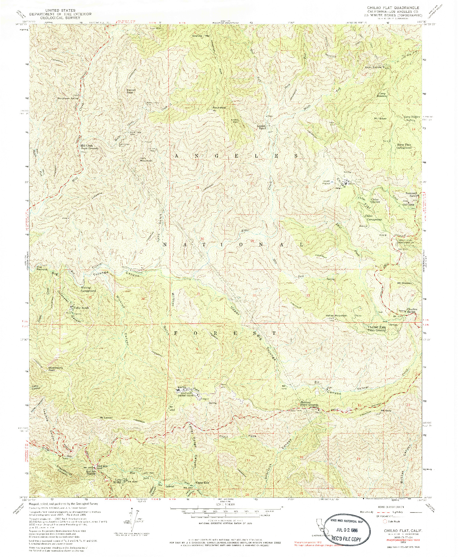 USGS 1:24000-SCALE QUADRANGLE FOR CHILAO FLAT, CA 1959