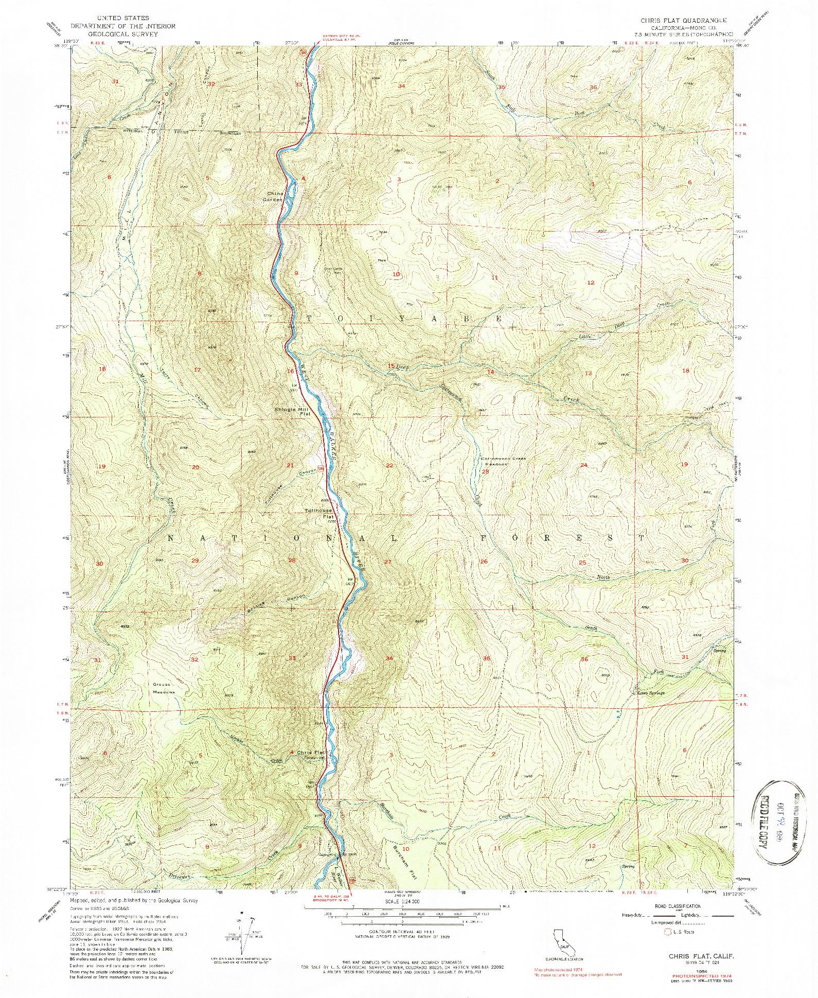 USGS 1:24000-SCALE QUADRANGLE FOR CHRIS FLAT, CA 1954