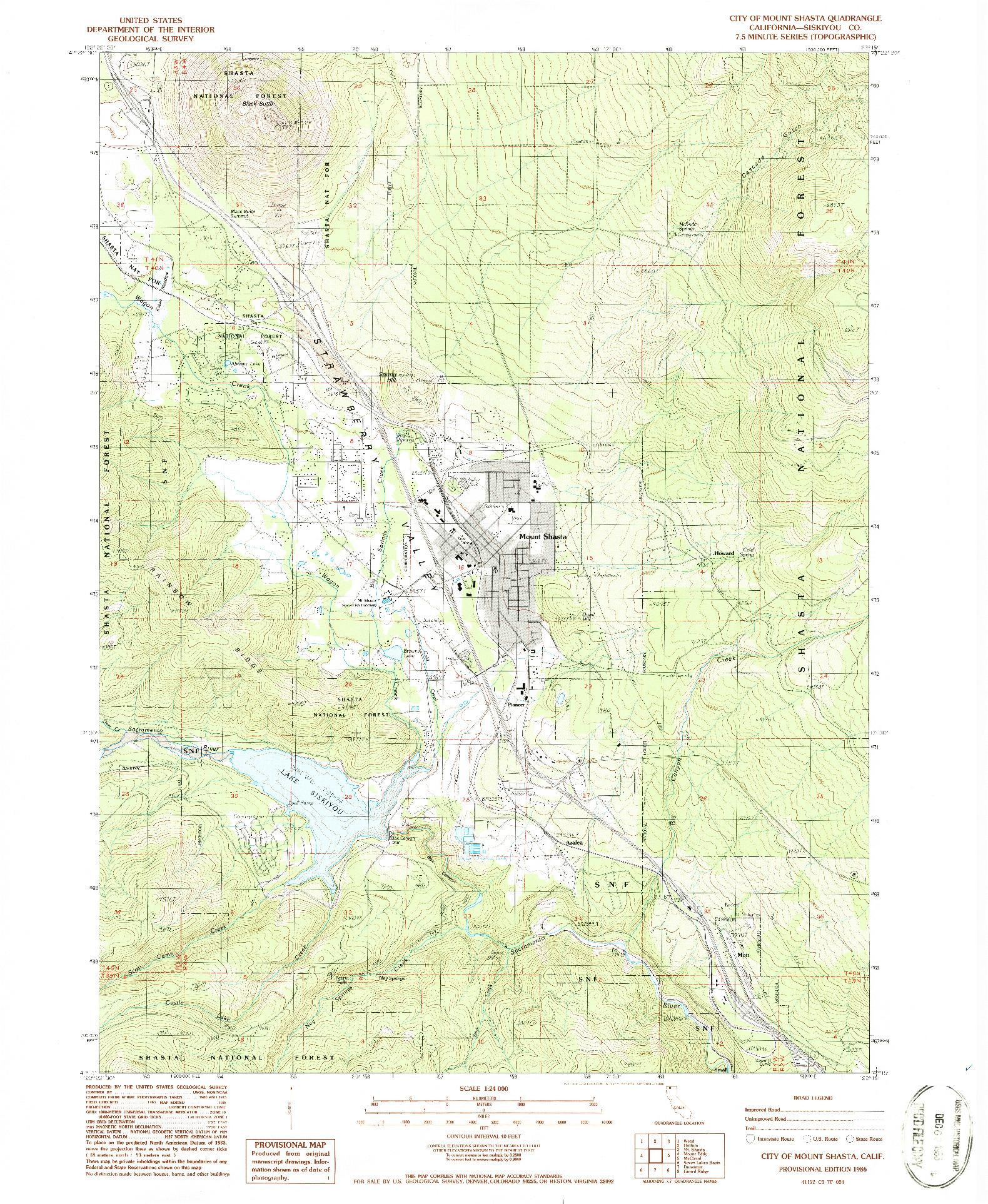 USGS 1:24000-SCALE QUADRANGLE FOR CITY OF MOUNT SHASTA, CA 1986