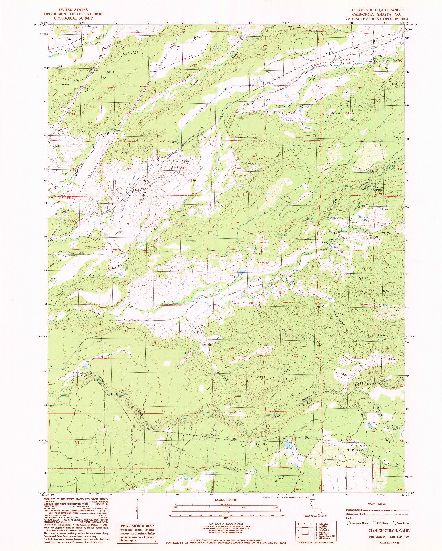 USGS 1:24000-SCALE QUADRANGLE FOR CLOUGH GULCH, CA 1985