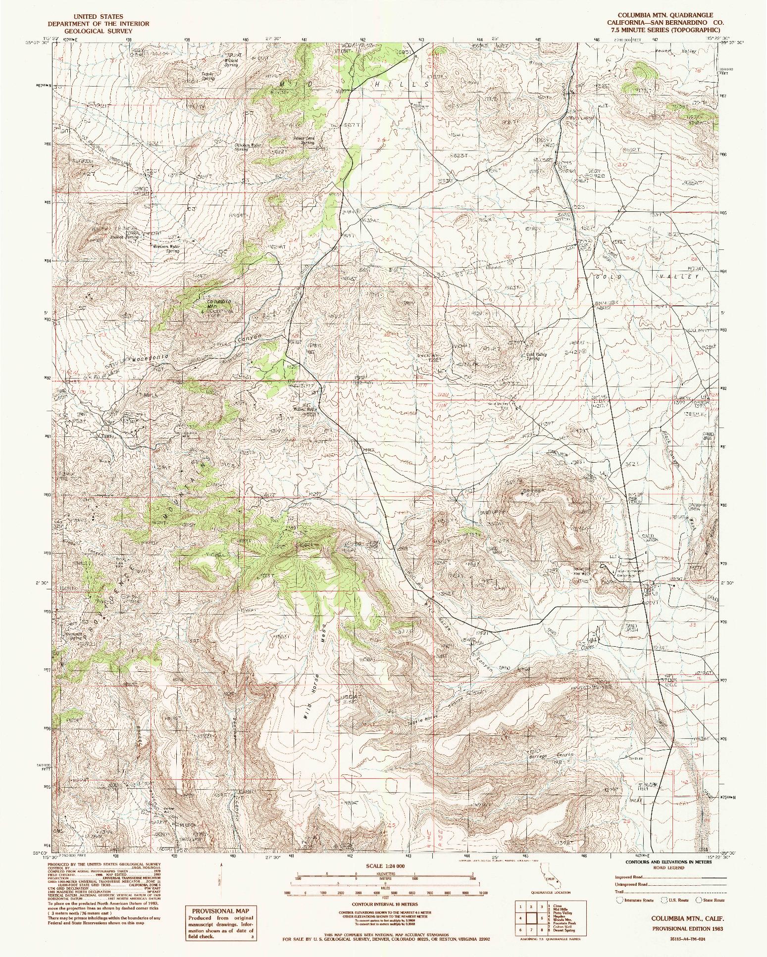 USGS 1:24000-SCALE QUADRANGLE FOR COLUMBIA MTN., CA 1983
