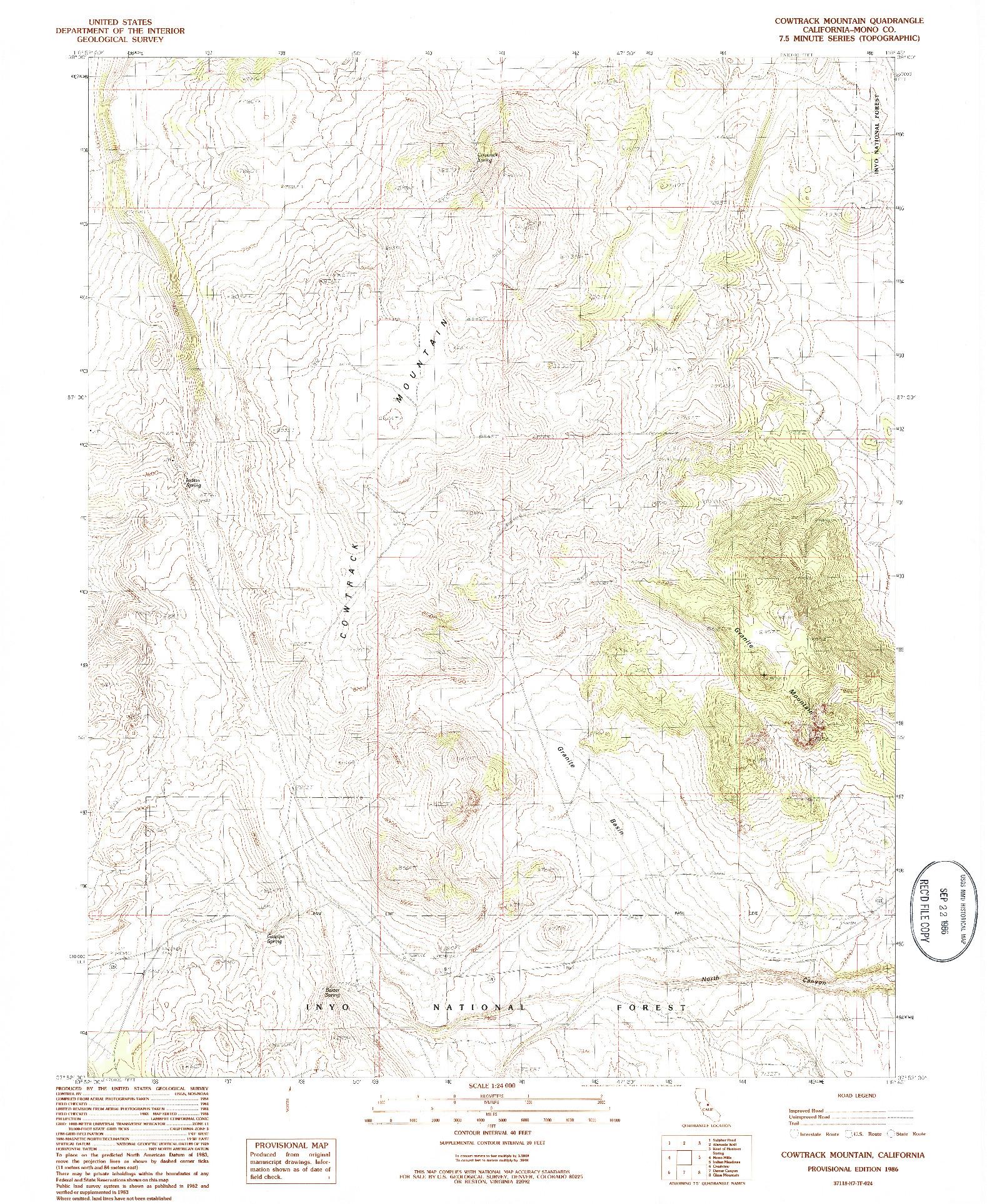USGS 1:24000-SCALE QUADRANGLE FOR COWTRACK MOUNTAIN, CA 1986