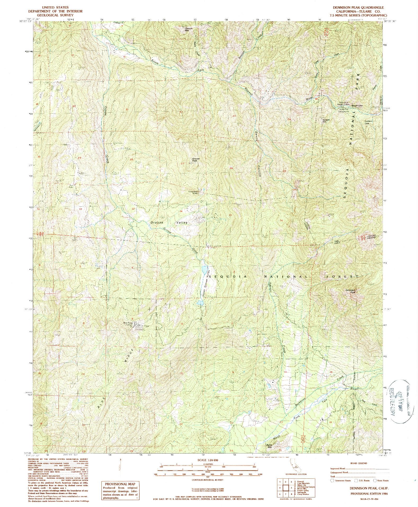 USGS 1:24000-SCALE QUADRANGLE FOR DENNISON PEAK, CA 1986