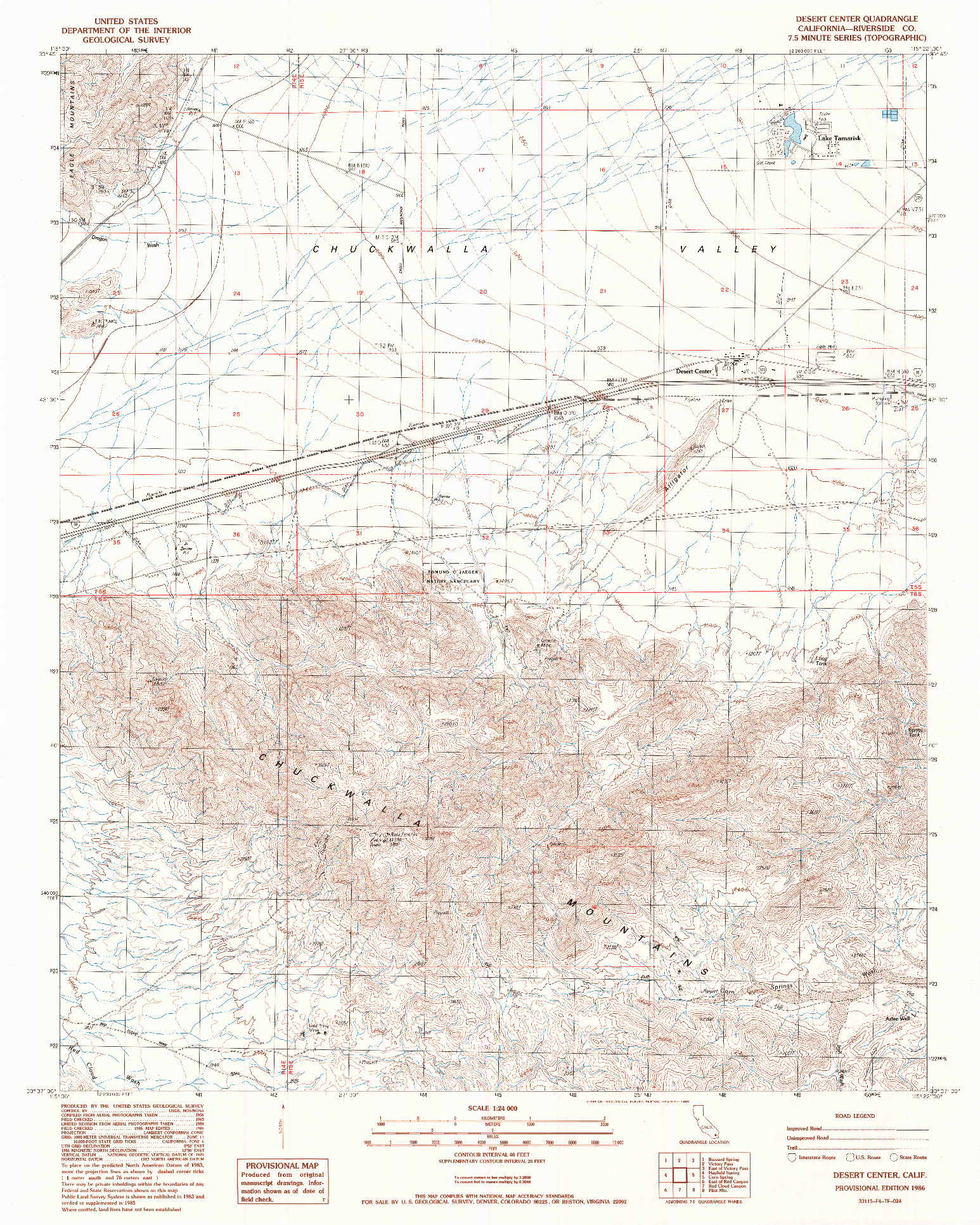 USGS 1:24000-SCALE QUADRANGLE FOR DESERT CENTER, CA 1986