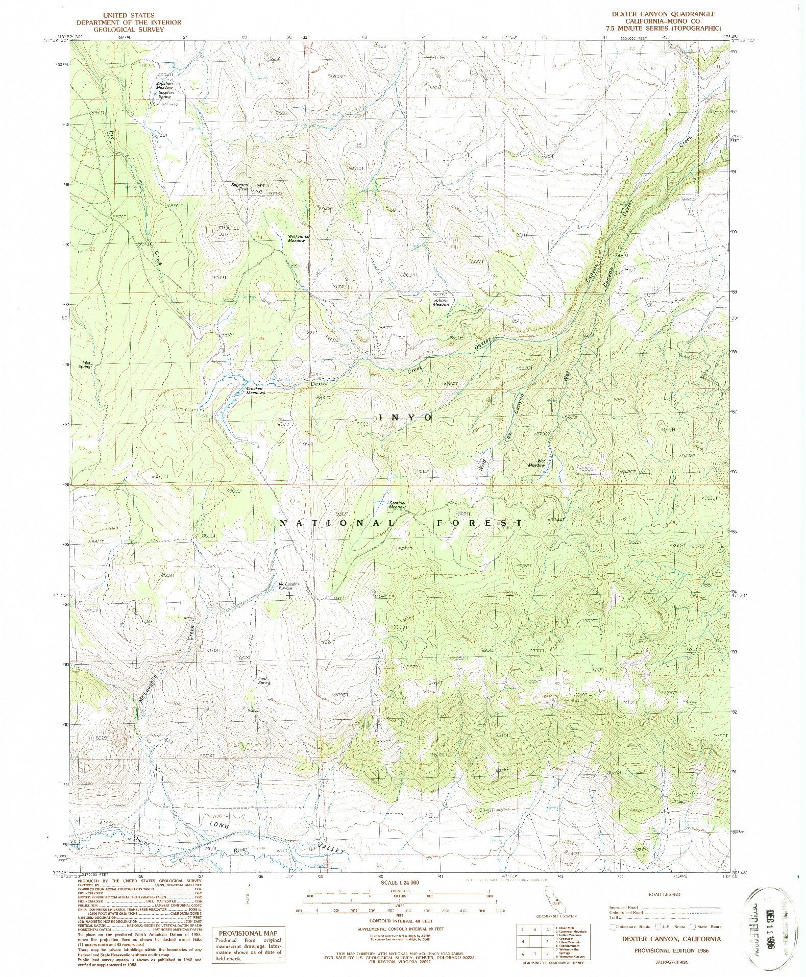 USGS 1:24000-SCALE QUADRANGLE FOR DEXTER CANYON, CA 1986