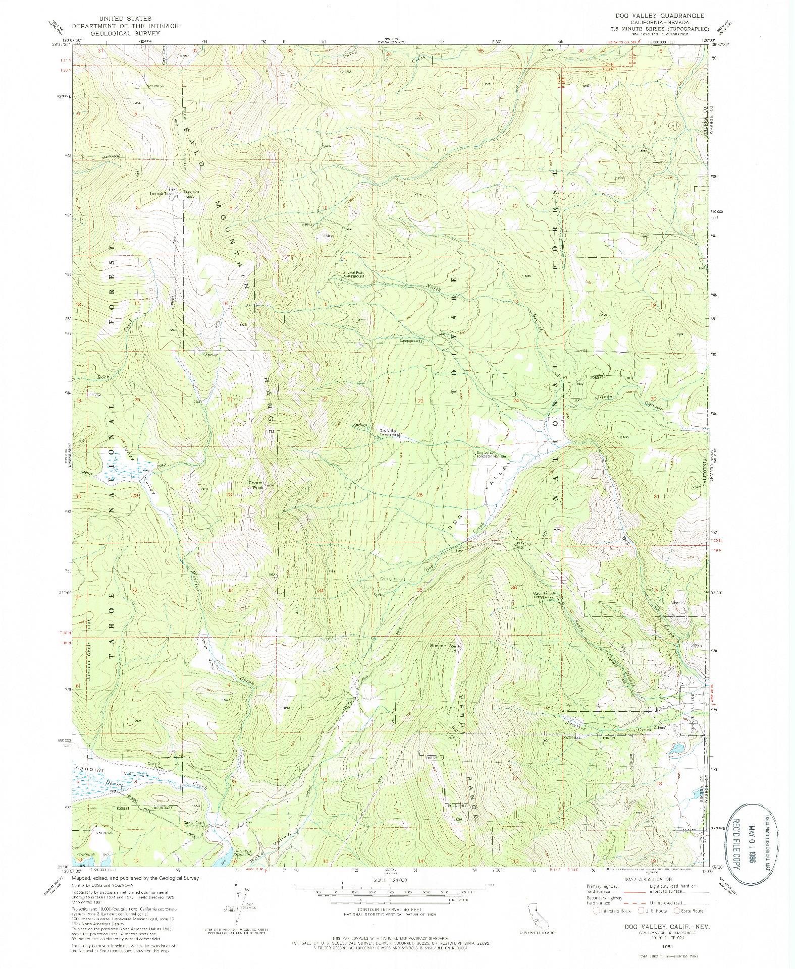 USGS 1:24000-SCALE QUADRANGLE FOR DOG VALLEY, CA 1981