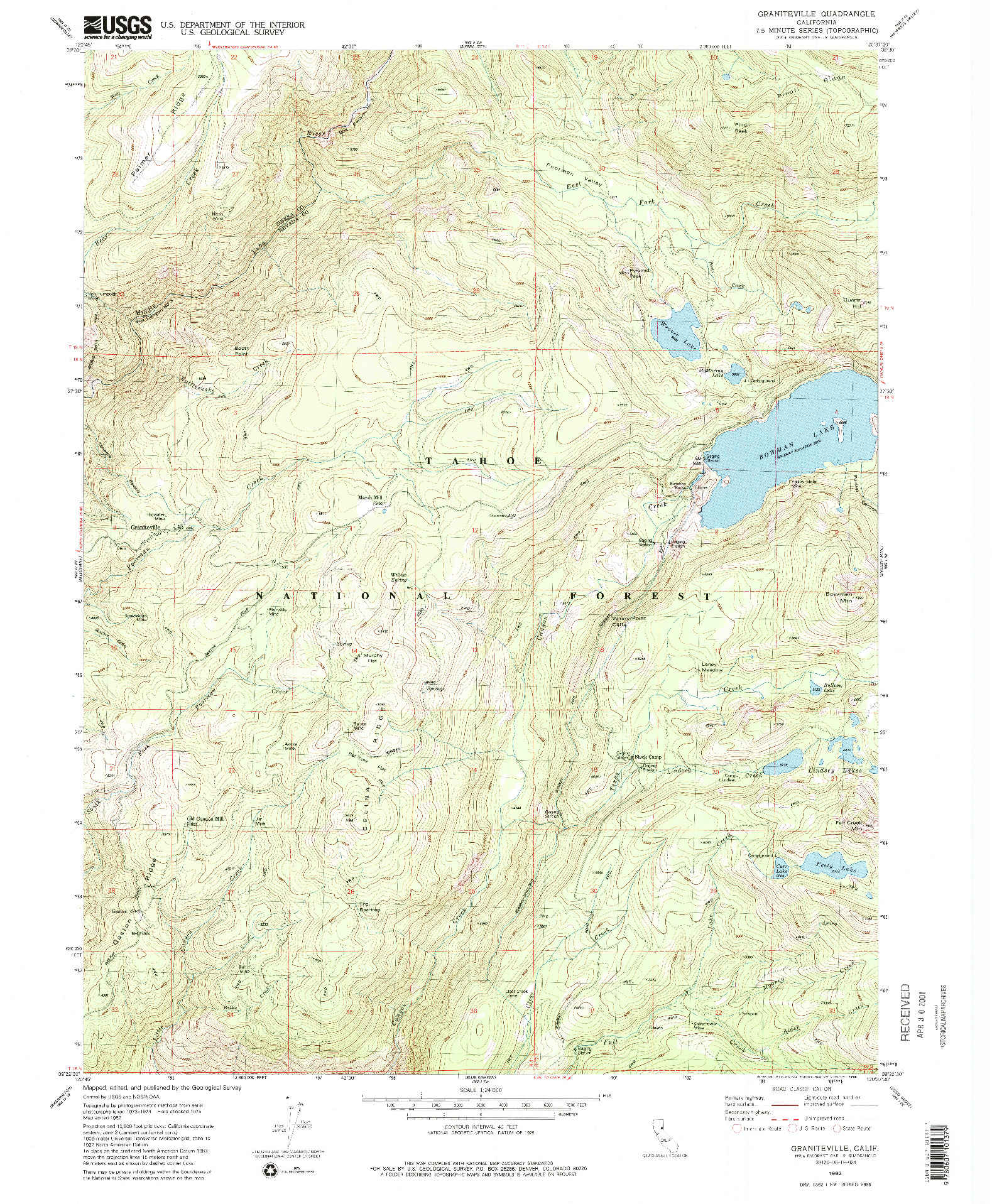USGS 1:24000-SCALE QUADRANGLE FOR GRANITEVILLE, CA 1982