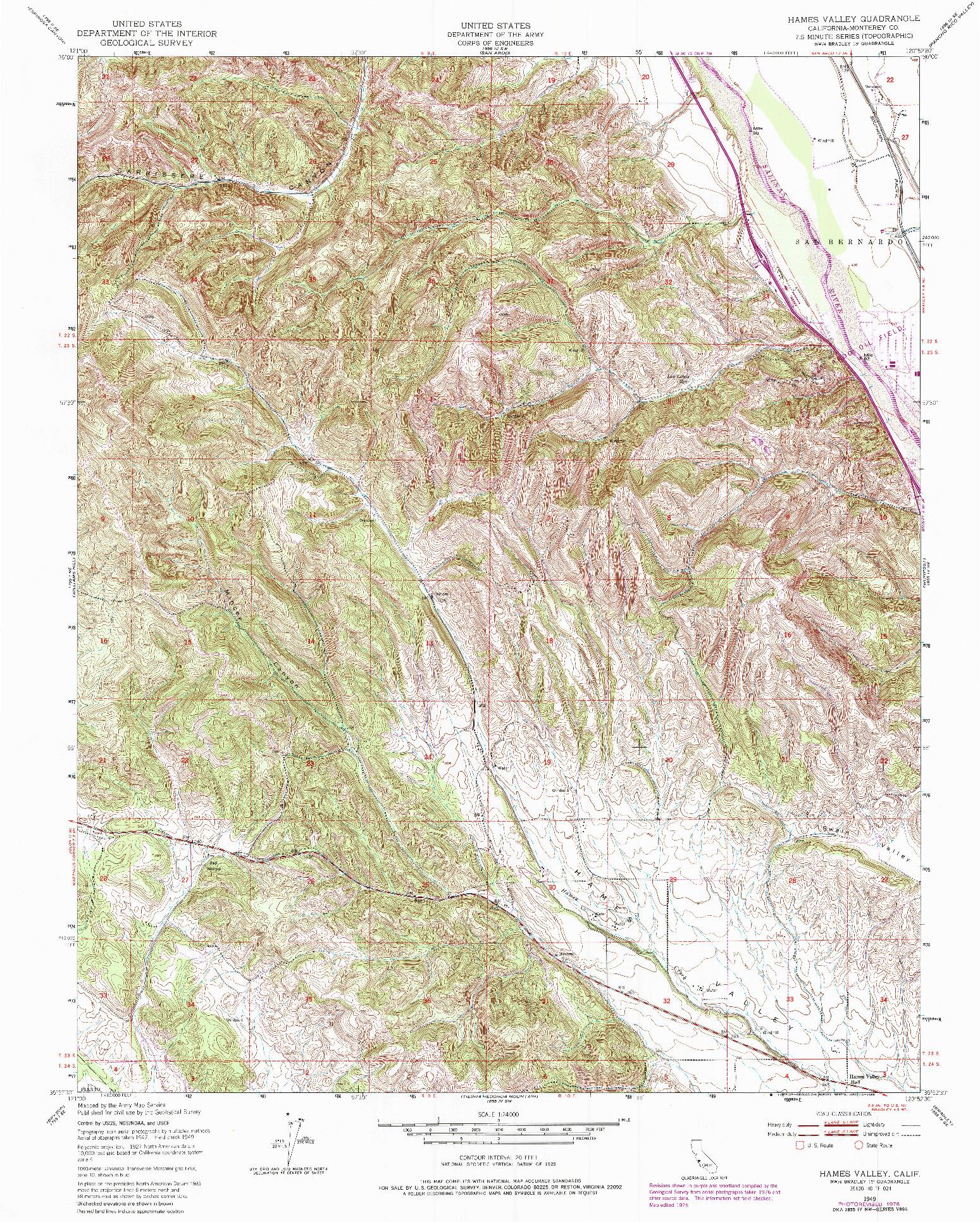 USGS 1:24000-SCALE QUADRANGLE FOR HAMES VALLEY, CA 1949