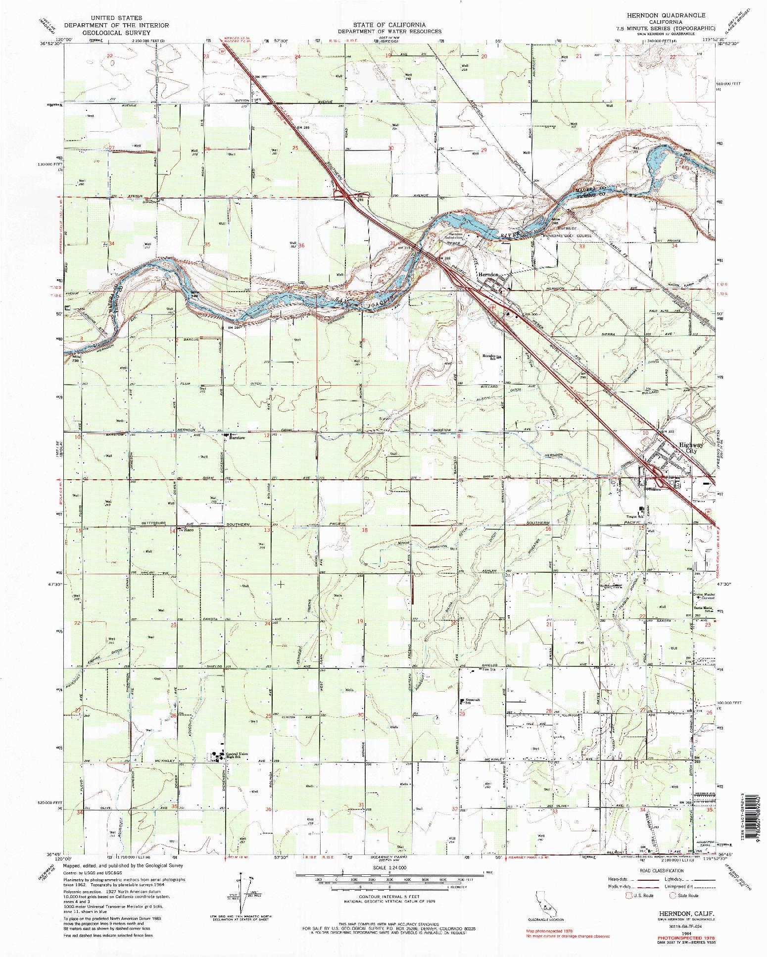 USGS 1:24000-SCALE QUADRANGLE FOR HERNDON, CA 1964