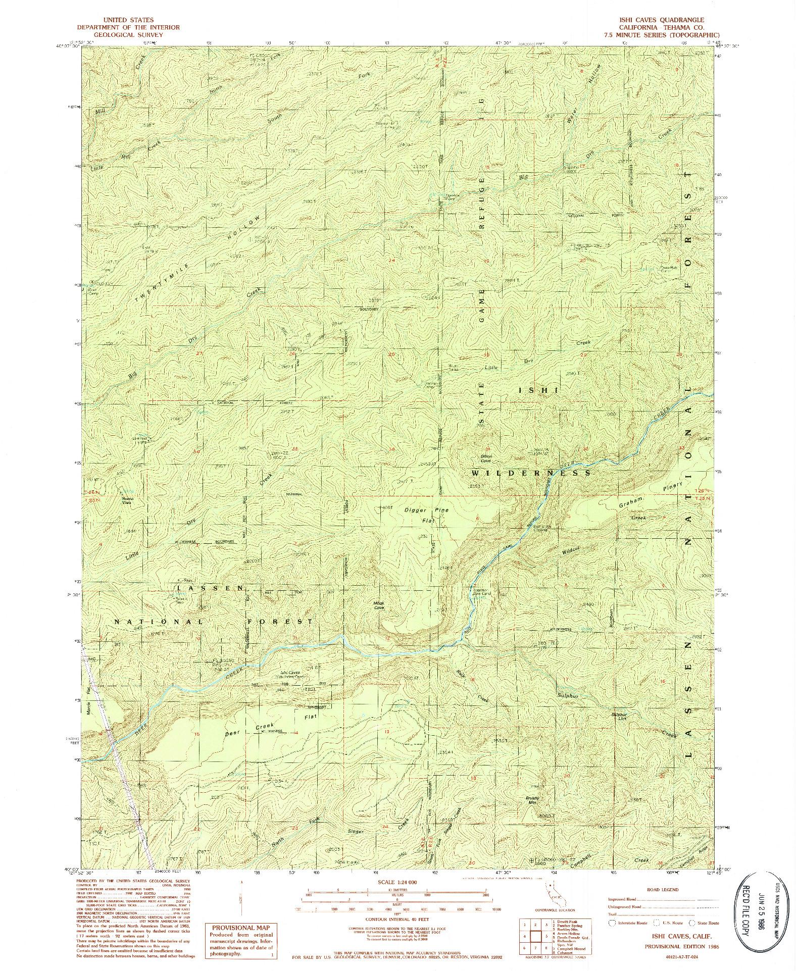 USGS 1:24000-SCALE QUADRANGLE FOR ISHI CAVES, CA 1986
