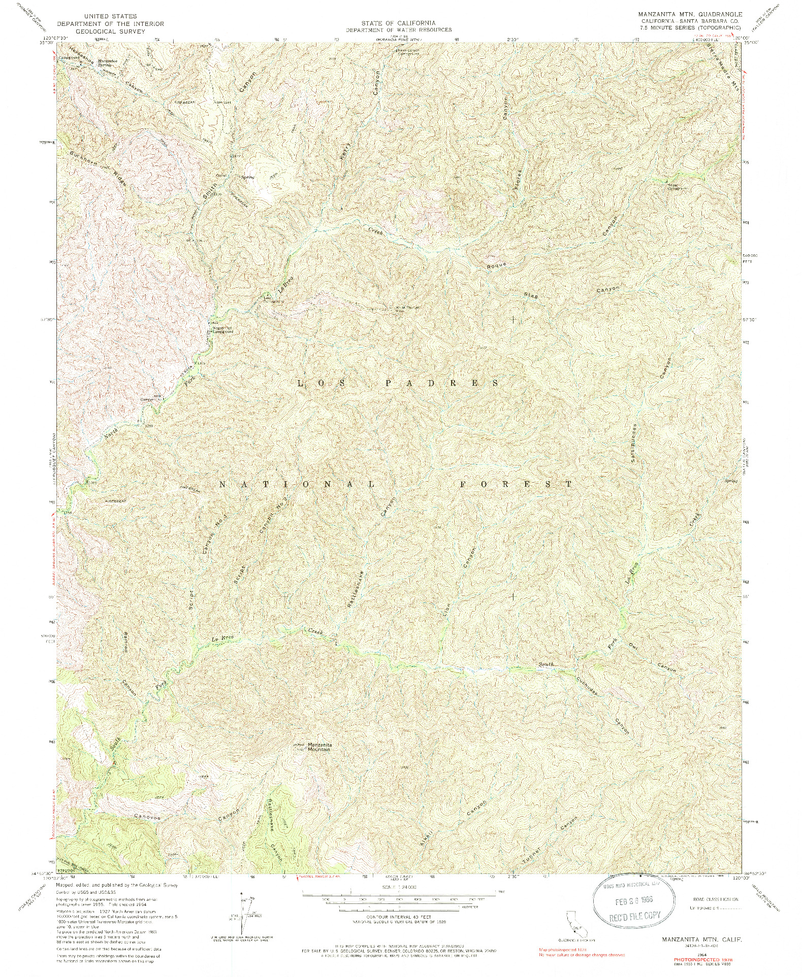 USGS 1:24000-SCALE QUADRANGLE FOR MANZANITA MTN., CA 1964