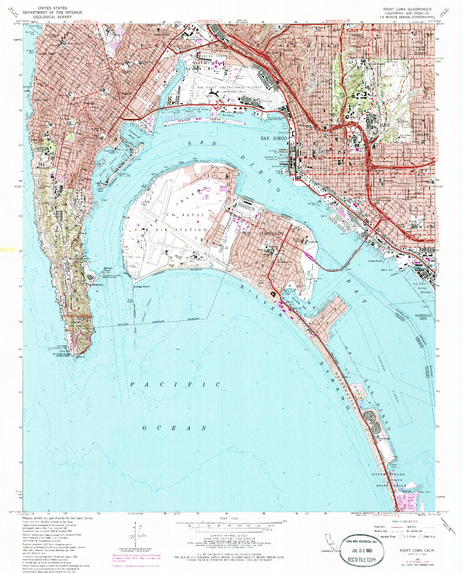 USGS 1:24000-SCALE QUADRANGLE FOR POINT LOMA, CA 1967