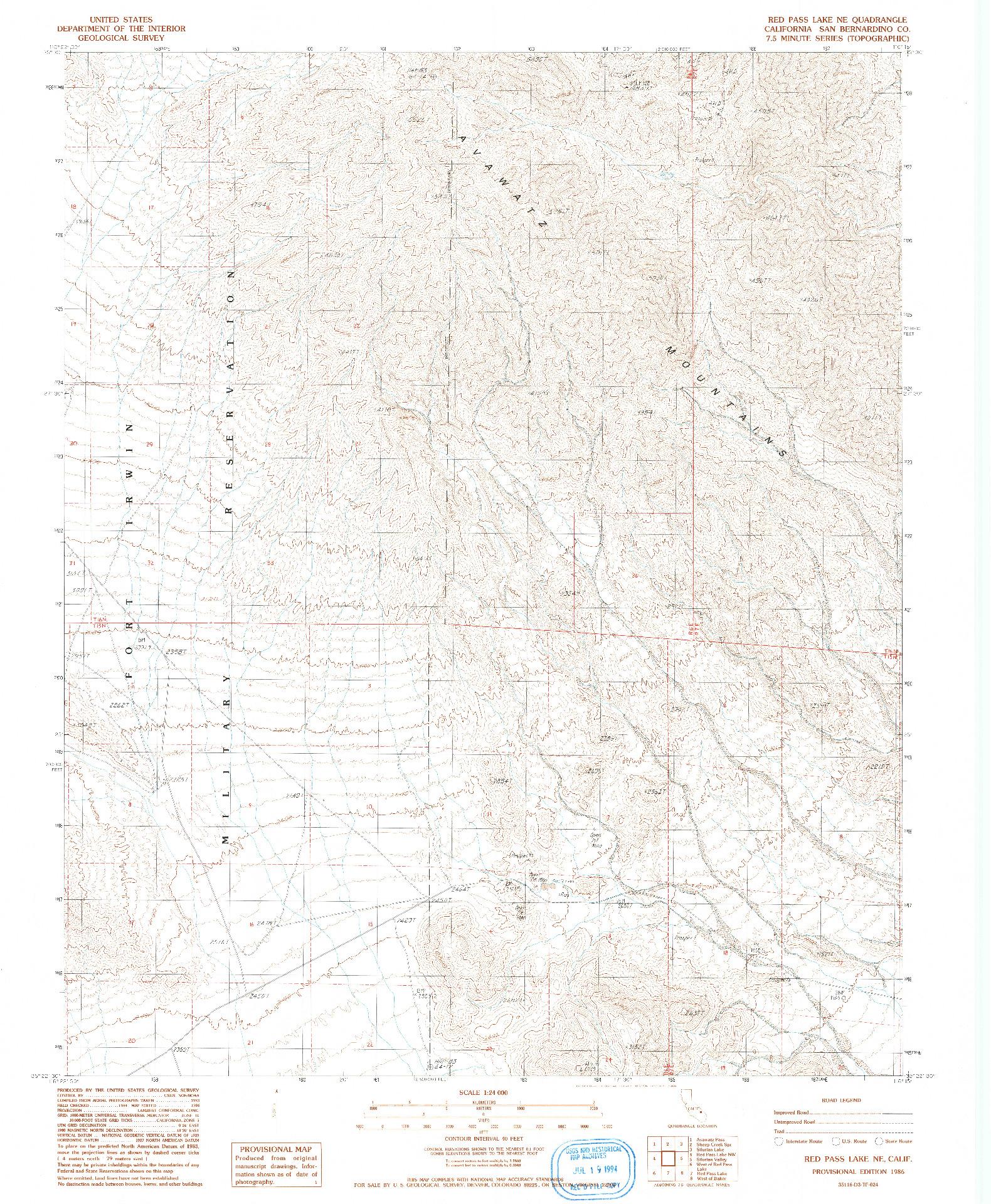 USGS 1:24000-SCALE QUADRANGLE FOR RED PASS LAKE NE, CA 1986