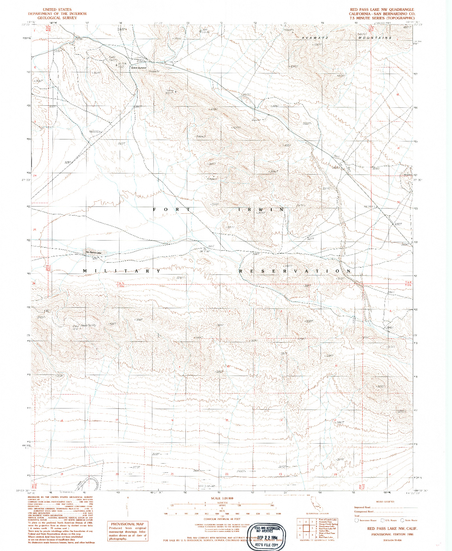 USGS 1:24000-SCALE QUADRANGLE FOR RED PASS LAKE NW, CA 1986